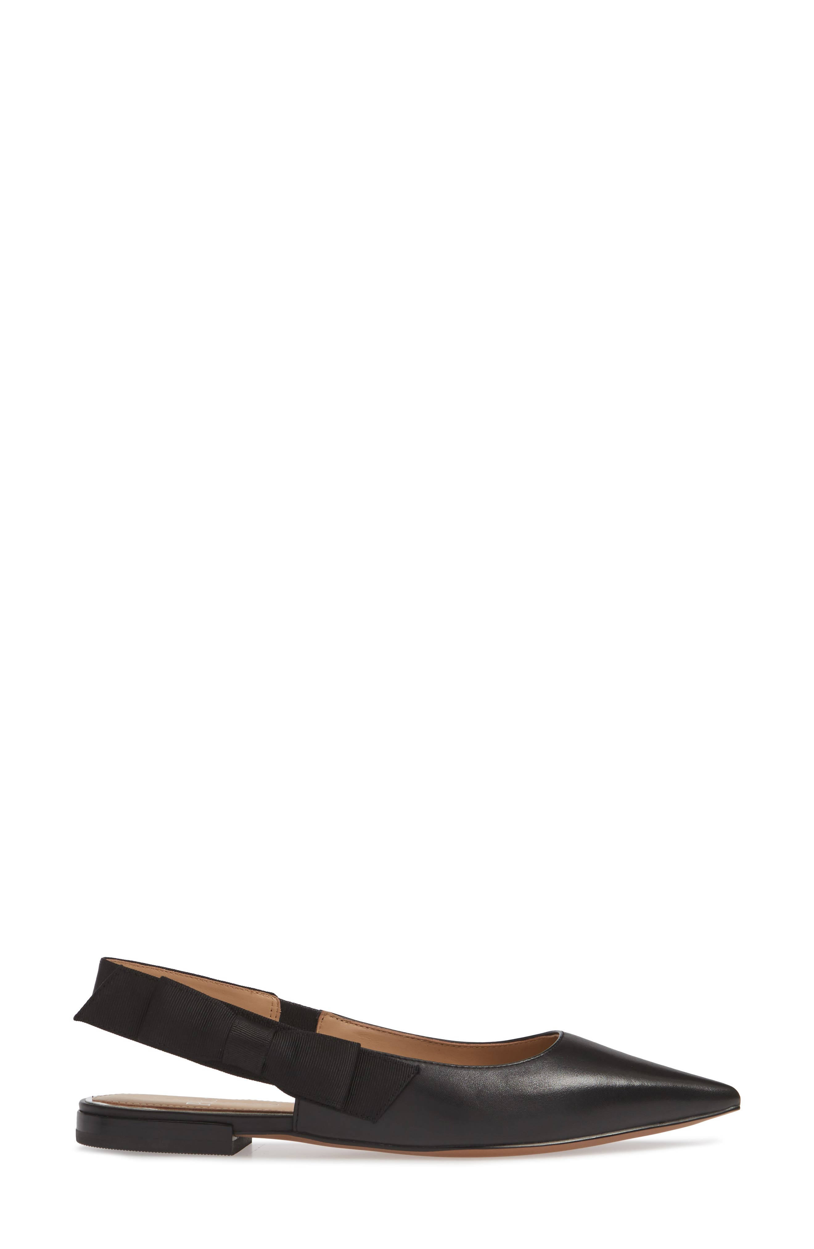 Darcy Bow Slingback Flat,                             Alternate thumbnail 3, color,                             BLACK LEATHER