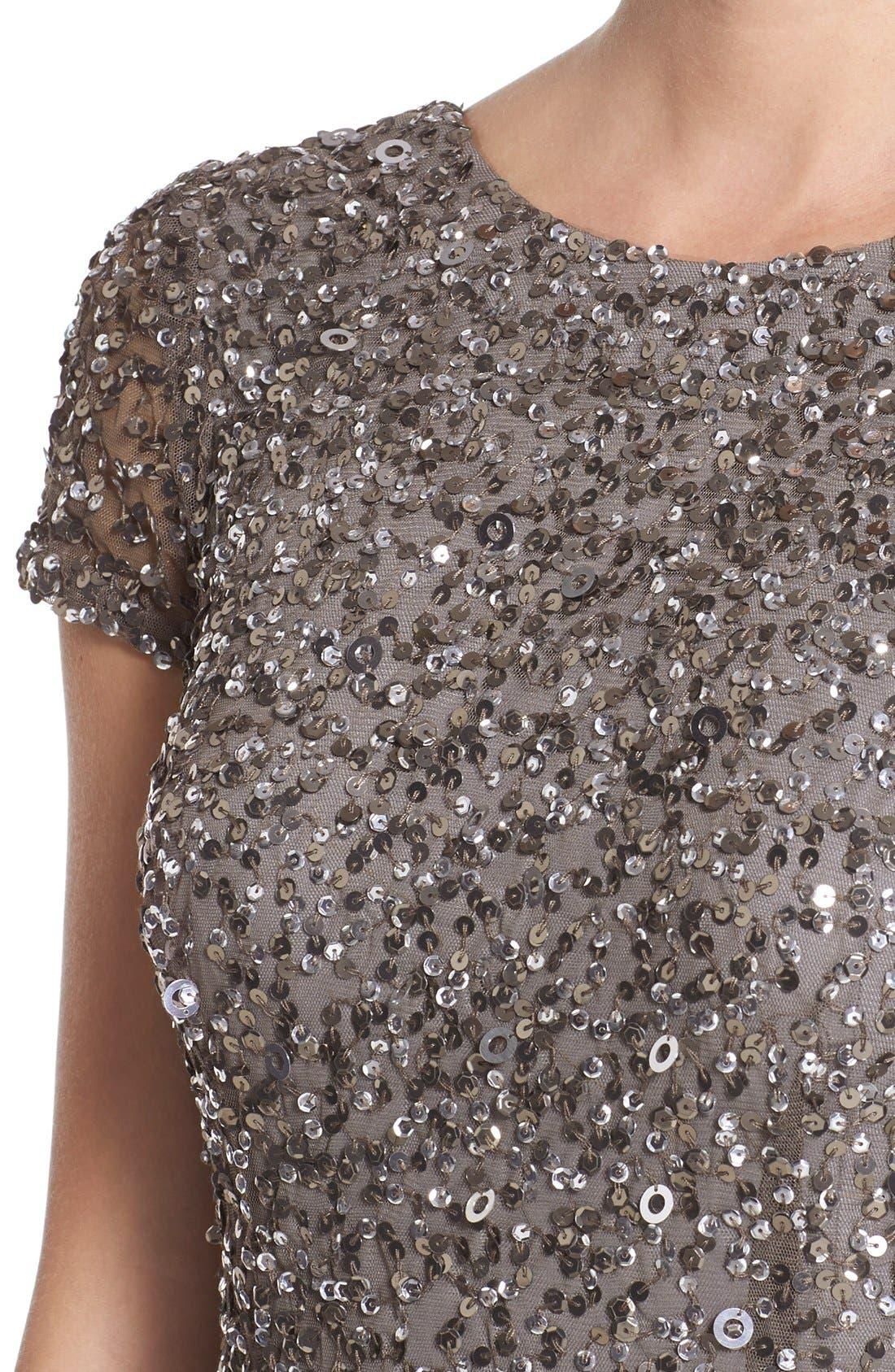 Short Sleeve Sequin Mesh Gown,                             Alternate thumbnail 9, color,                             LEAD