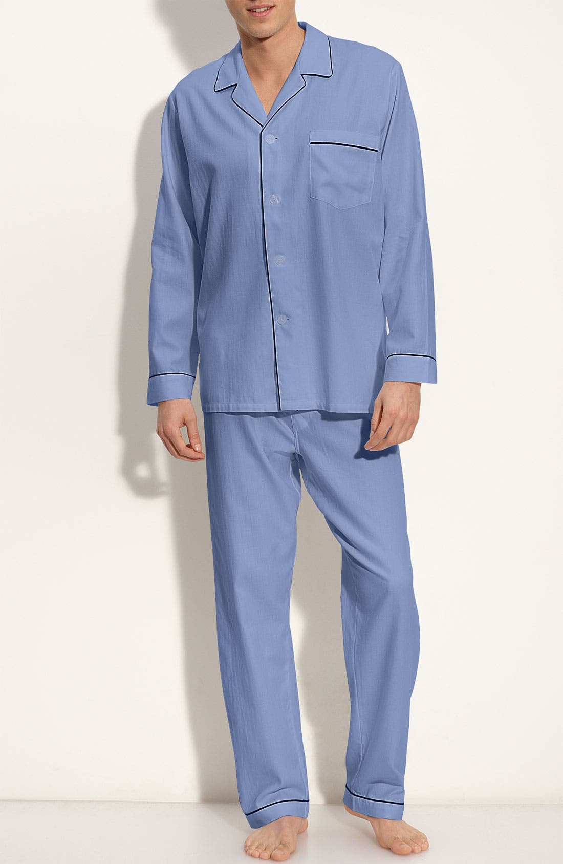 Herringbone Cotton Pajamas,                         Main,                         color, BLUE