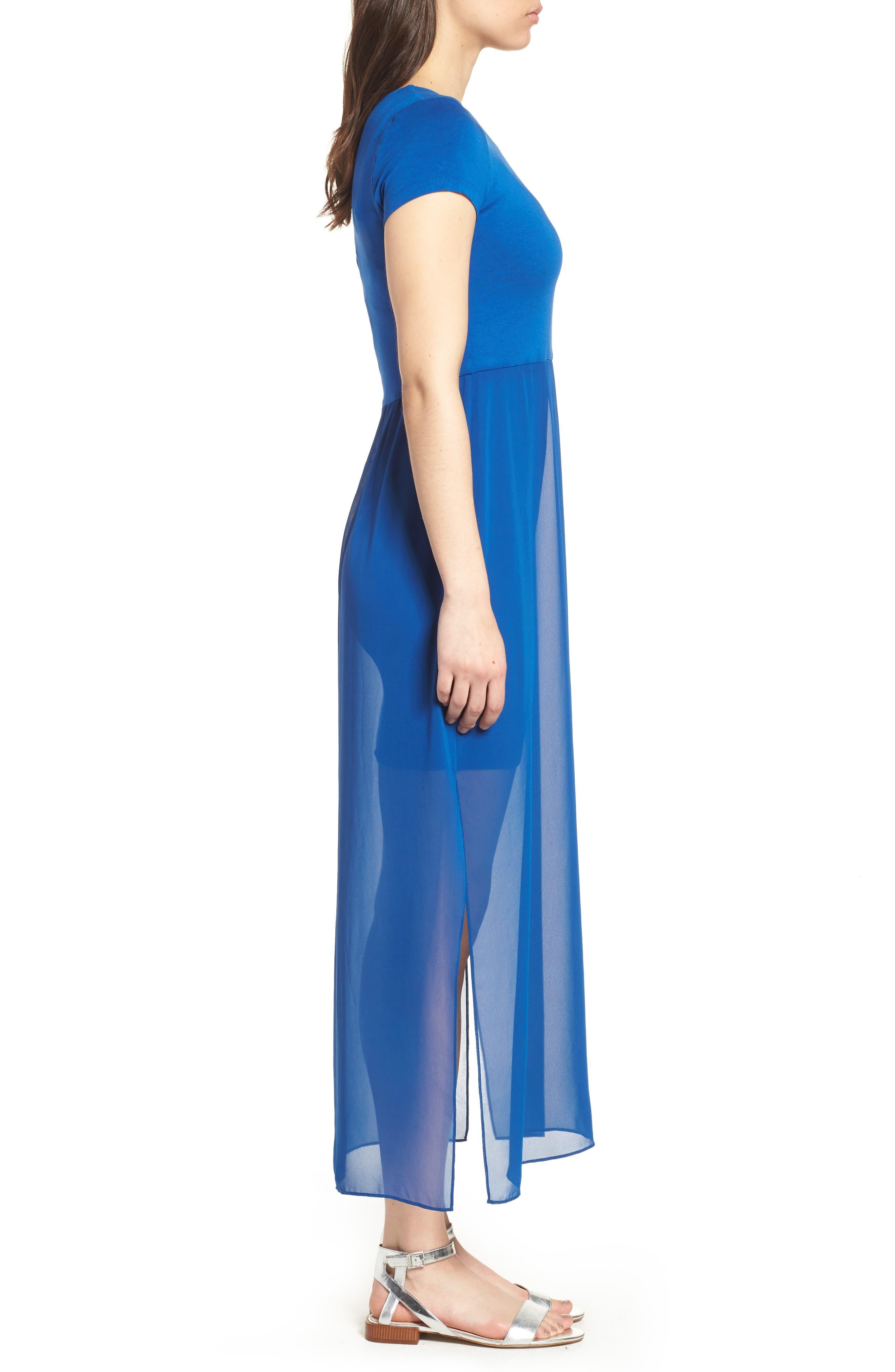 Chiffon Overlay Maxi Dress,                             Alternate thumbnail 3, color,                             AMALFI BLUE