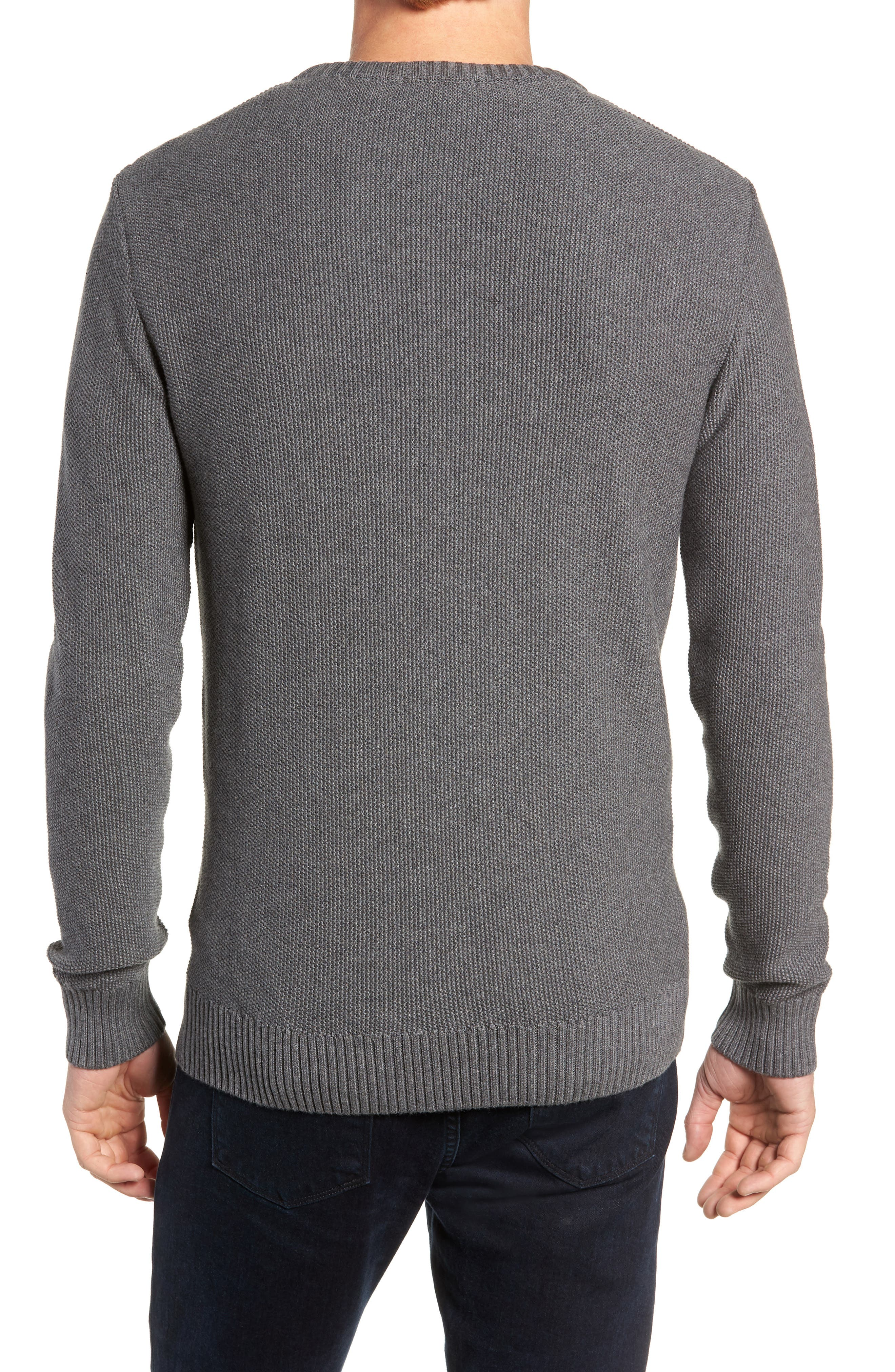 Owl Textured Sweater,                             Alternate thumbnail 2, color,                             GREY MELANGE