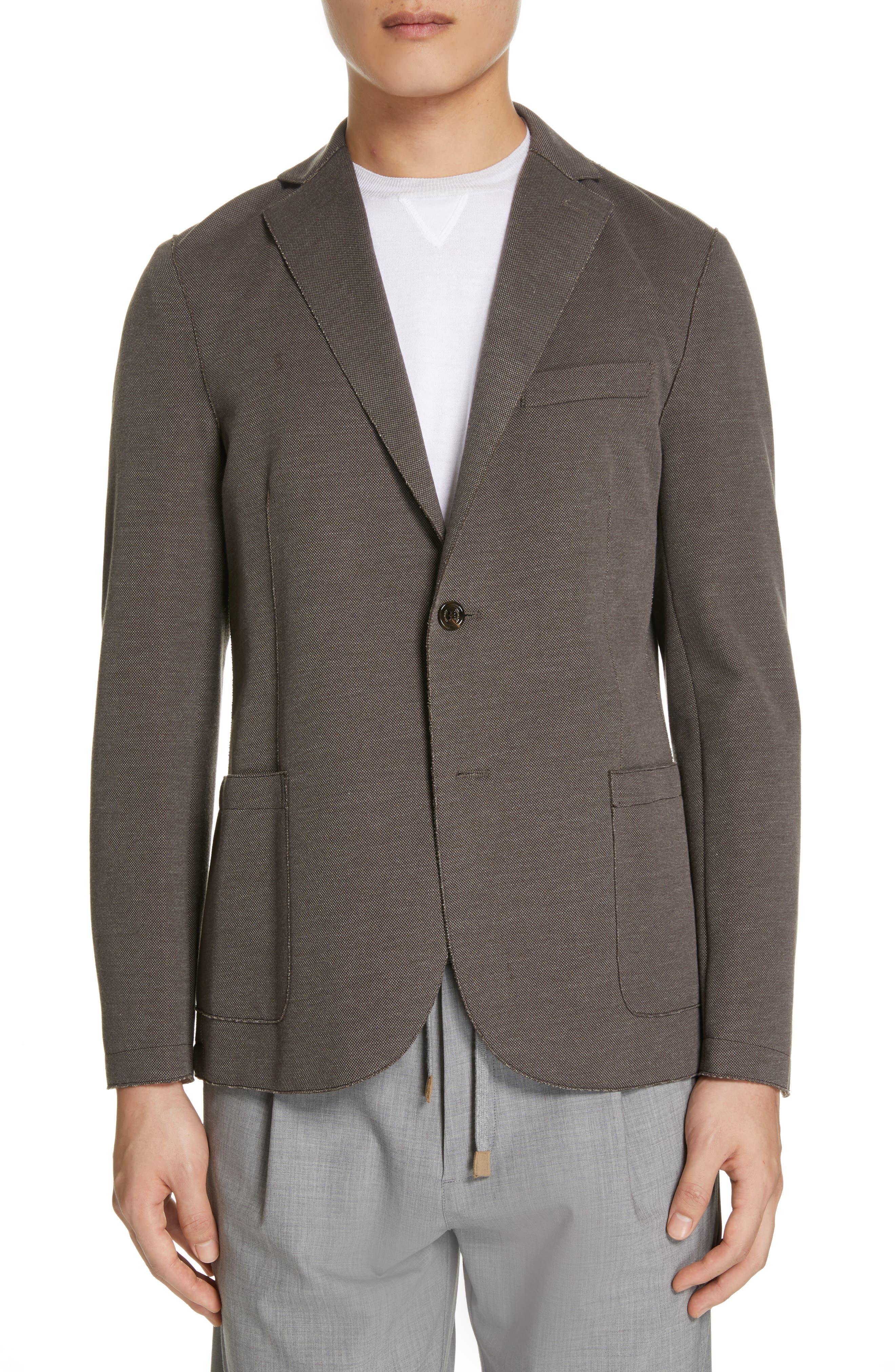 ELEVENTY Trim Fit Jersey Sport Coat, Main, color, BROWN