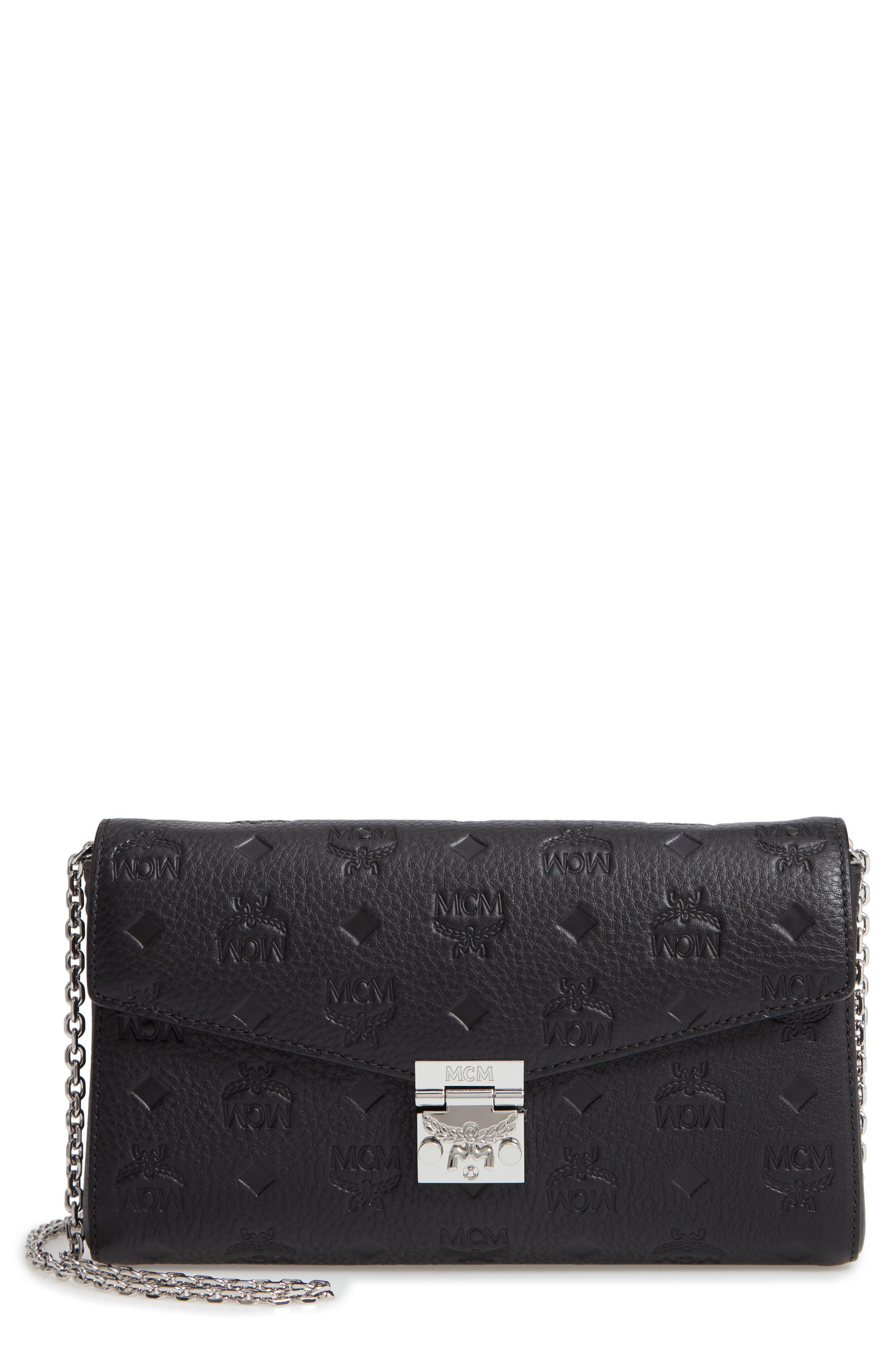 Millie Medium Calfskin Leather Wallet on a Chain,                             Main thumbnail 1, color,                             BLACK