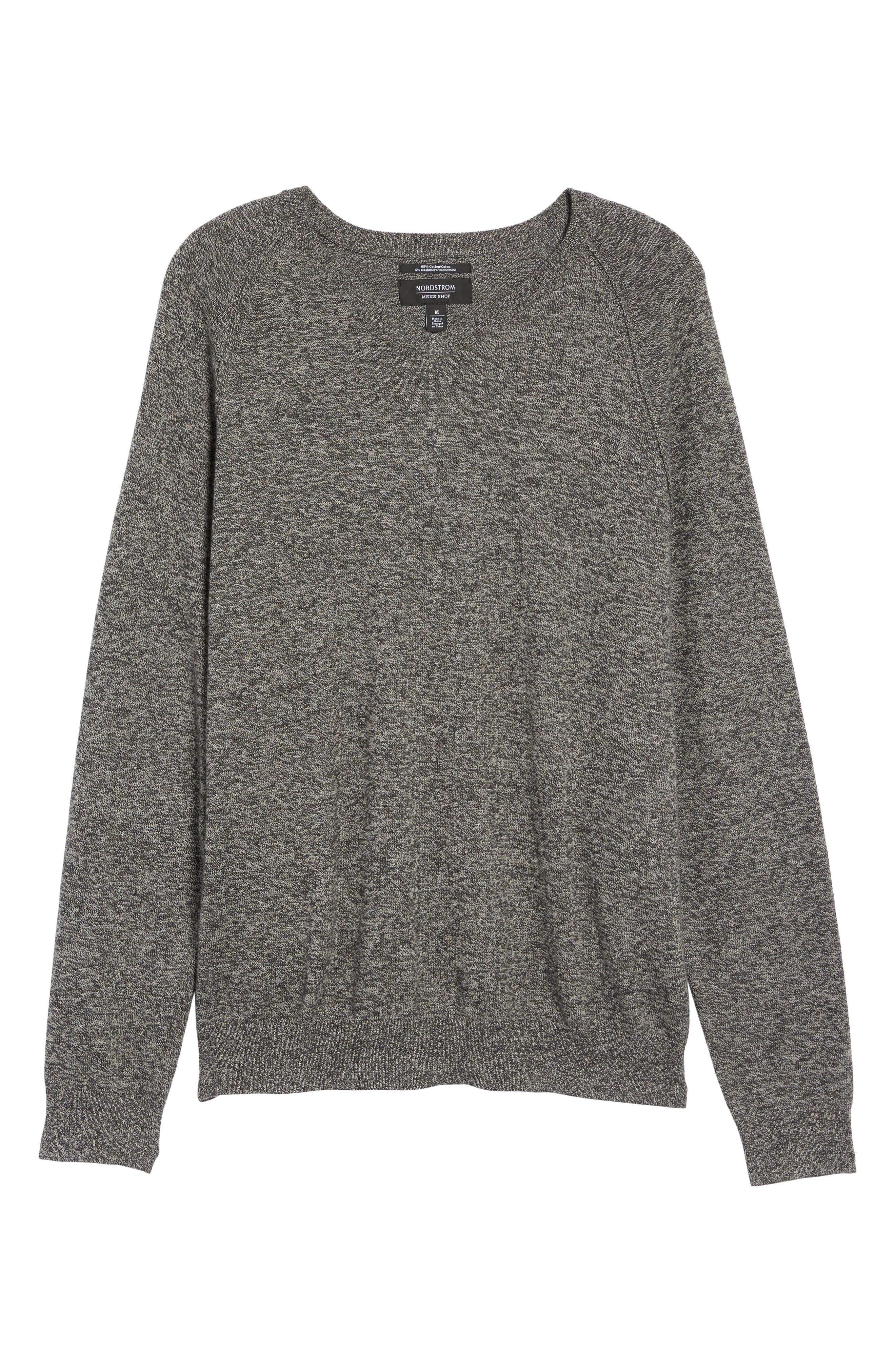 Saddle Shoulder Cotton & Cashmere V-Neck Sweater,                             Alternate thumbnail 42, color,
