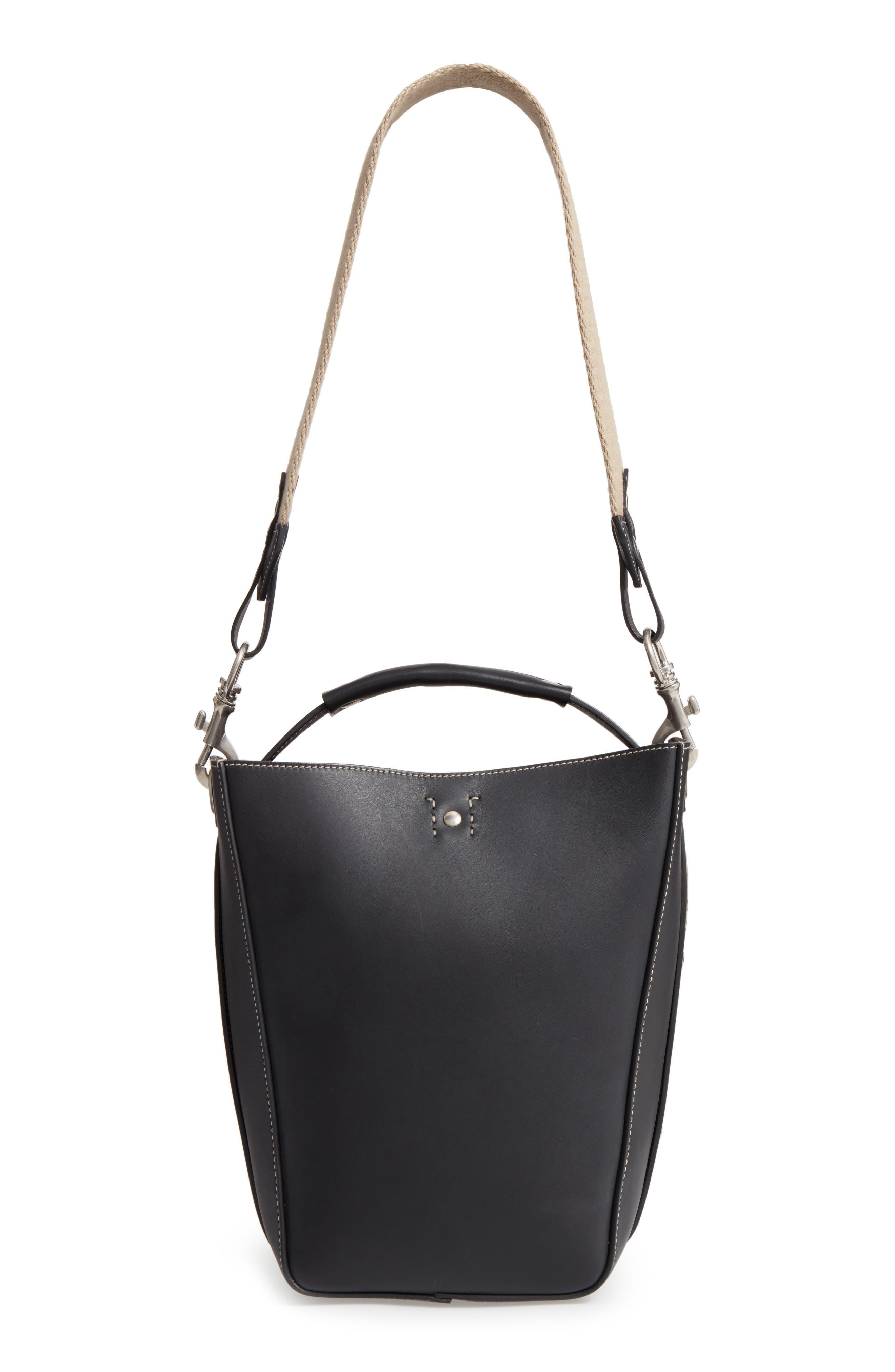 Starlet Leather Bucket Bag,                             Main thumbnail 1, color,                             BLACK