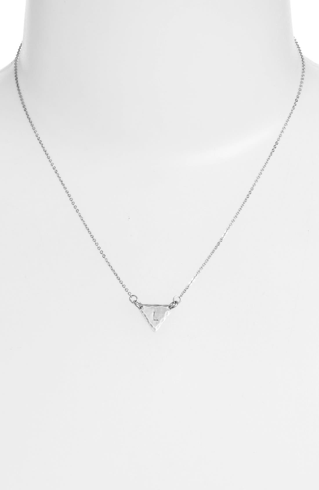 Sterling Silver Initial Mini Triangle Necklace,                             Alternate thumbnail 38, color,