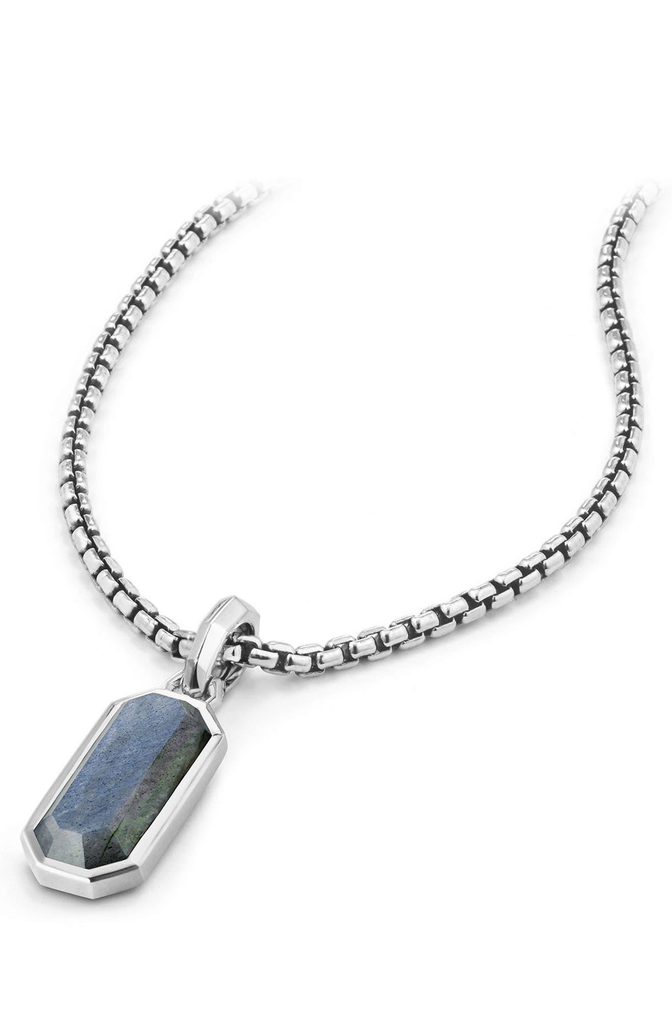 Emerald Cut Semiprecious Stone Amulet,                             Alternate thumbnail 3, color,                             LABRADORITE