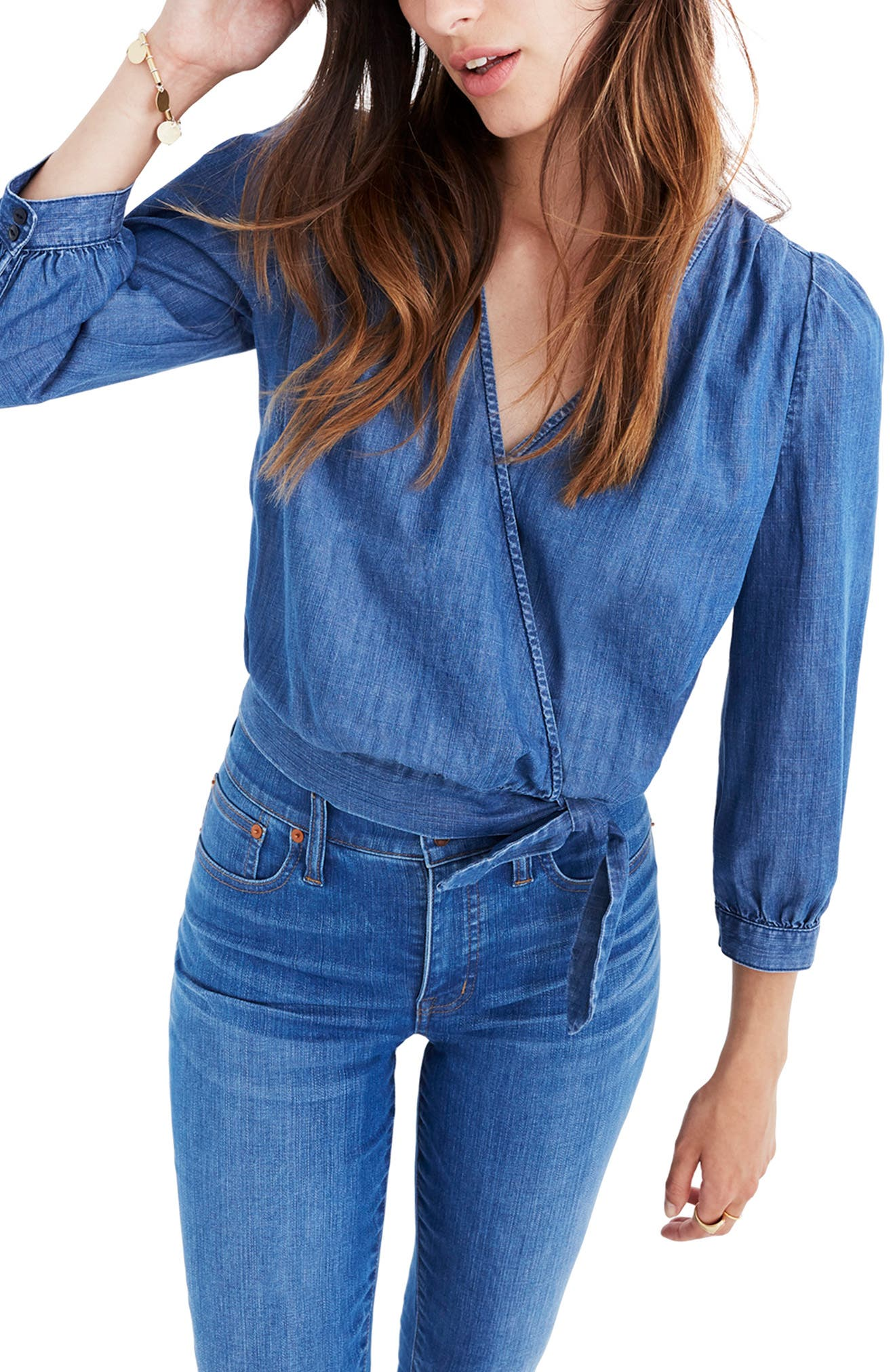Denim Wrap Blouse,                             Main thumbnail 1, color,                             DESCANSO WASH
