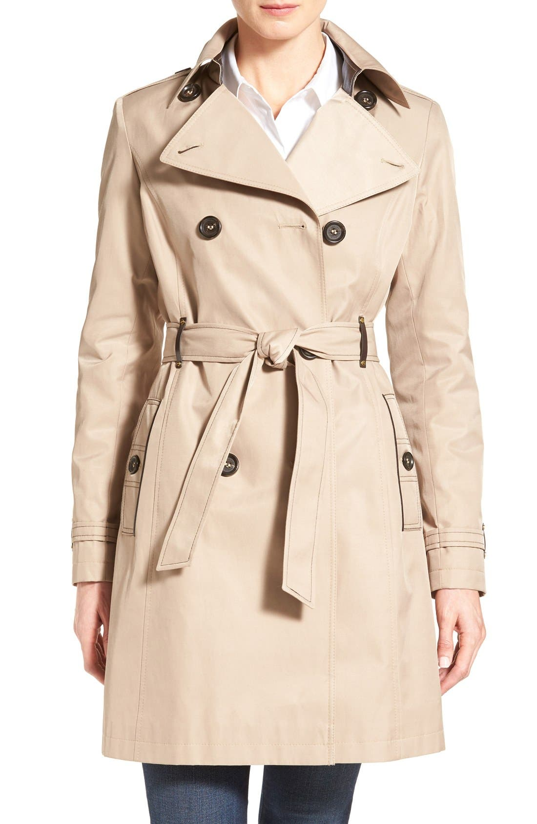 Double Breasted Trench with Faux Leather Trim,                             Main thumbnail 2, color,