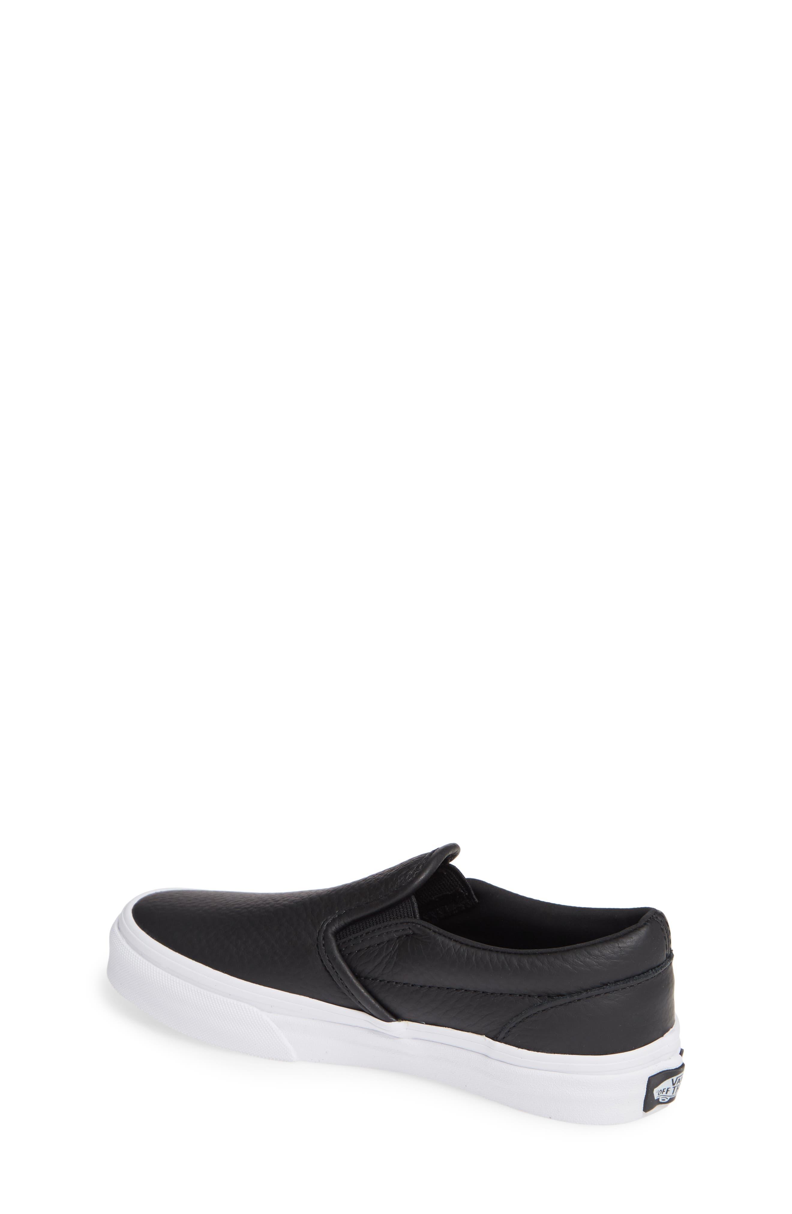 'Classic' Slip-On Sneaker,                             Alternate thumbnail 2, color,                             BLACK/ TRUE WHITE LEATHER