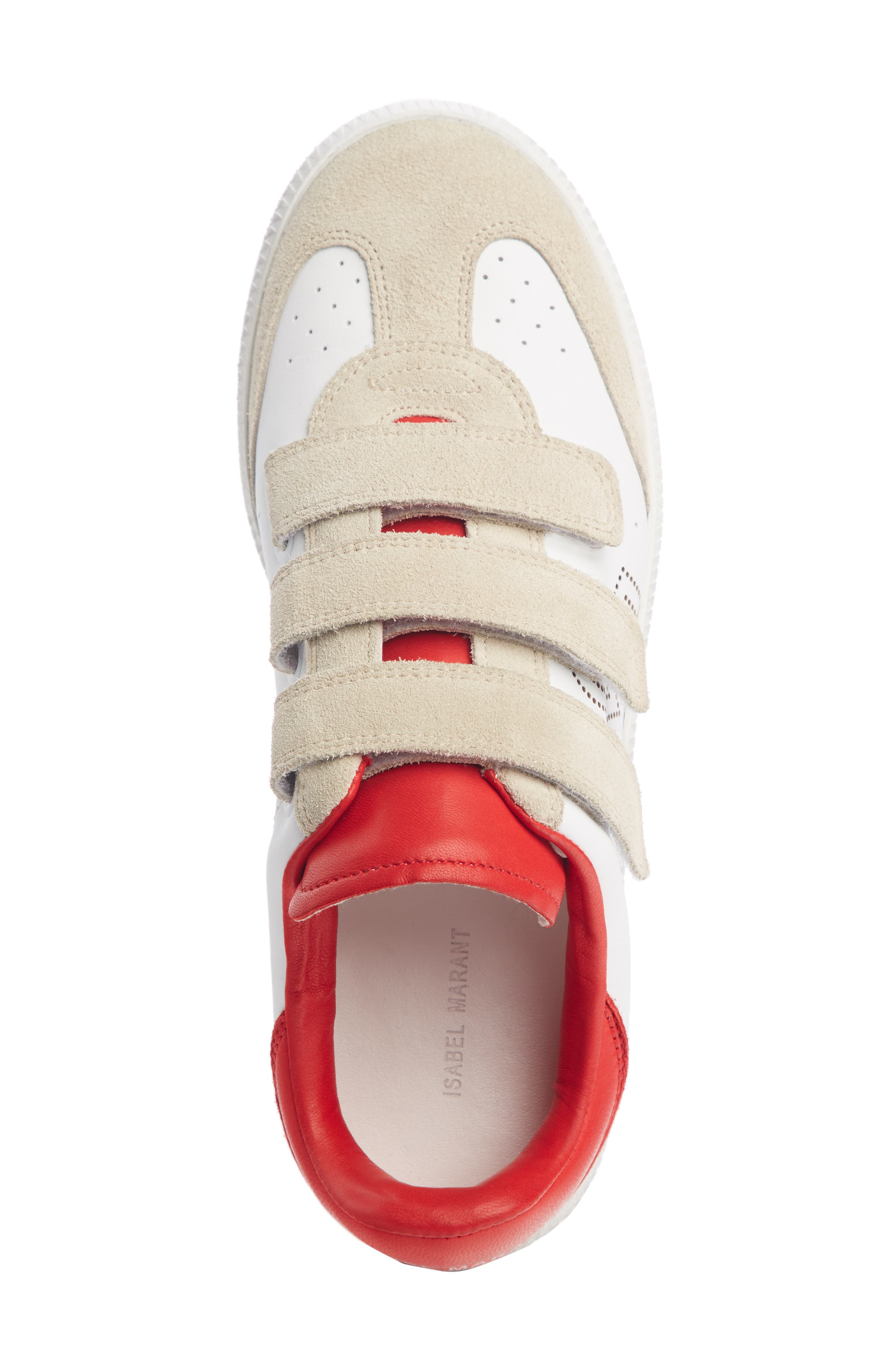 ISABEL MARANT,                             Beth Low Top Sneaker,                             Alternate thumbnail 4, color,                             WHITE / RED