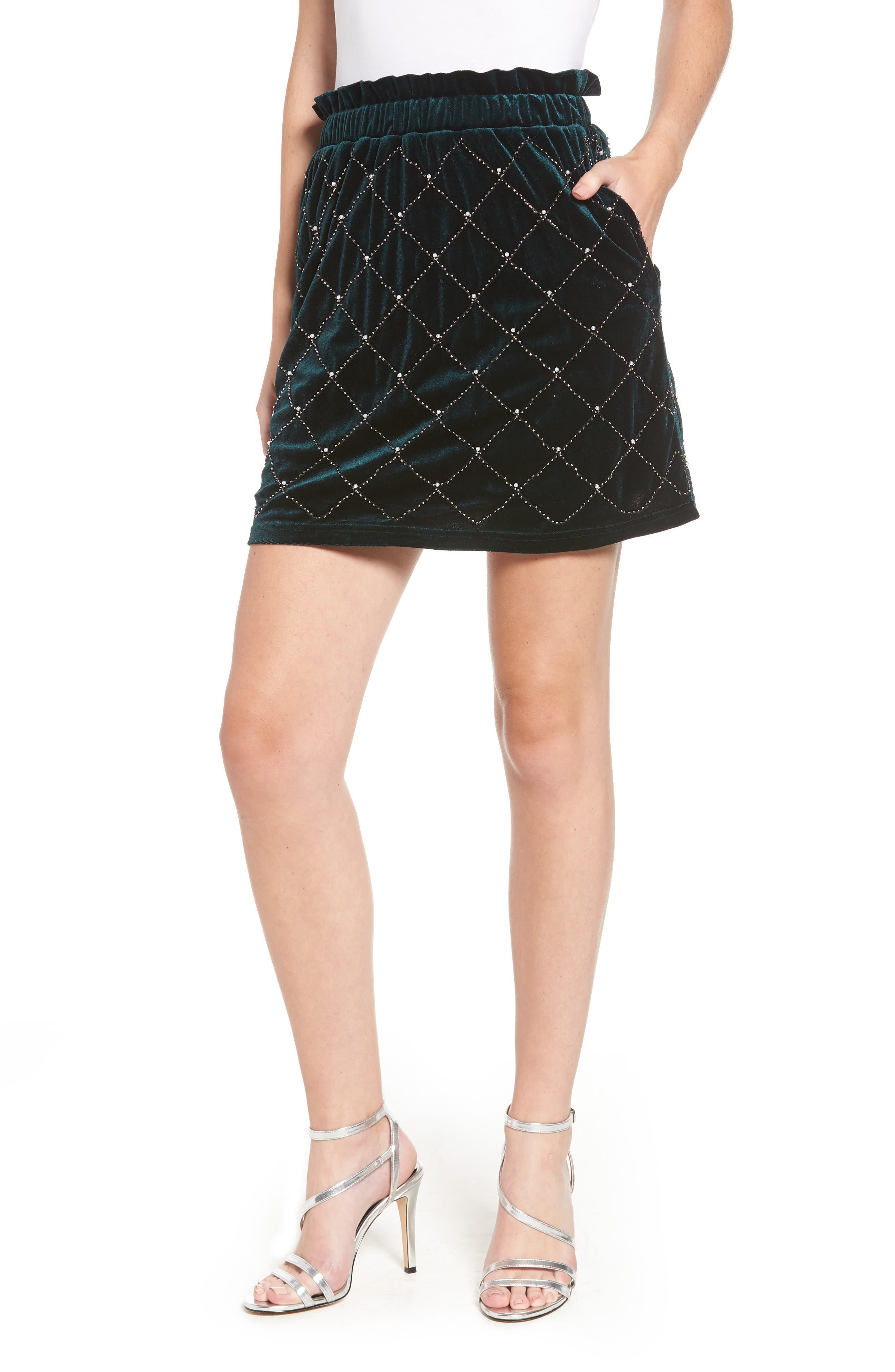 Beaded Velvet Miniskirt,                         Main,                         color, GREEN