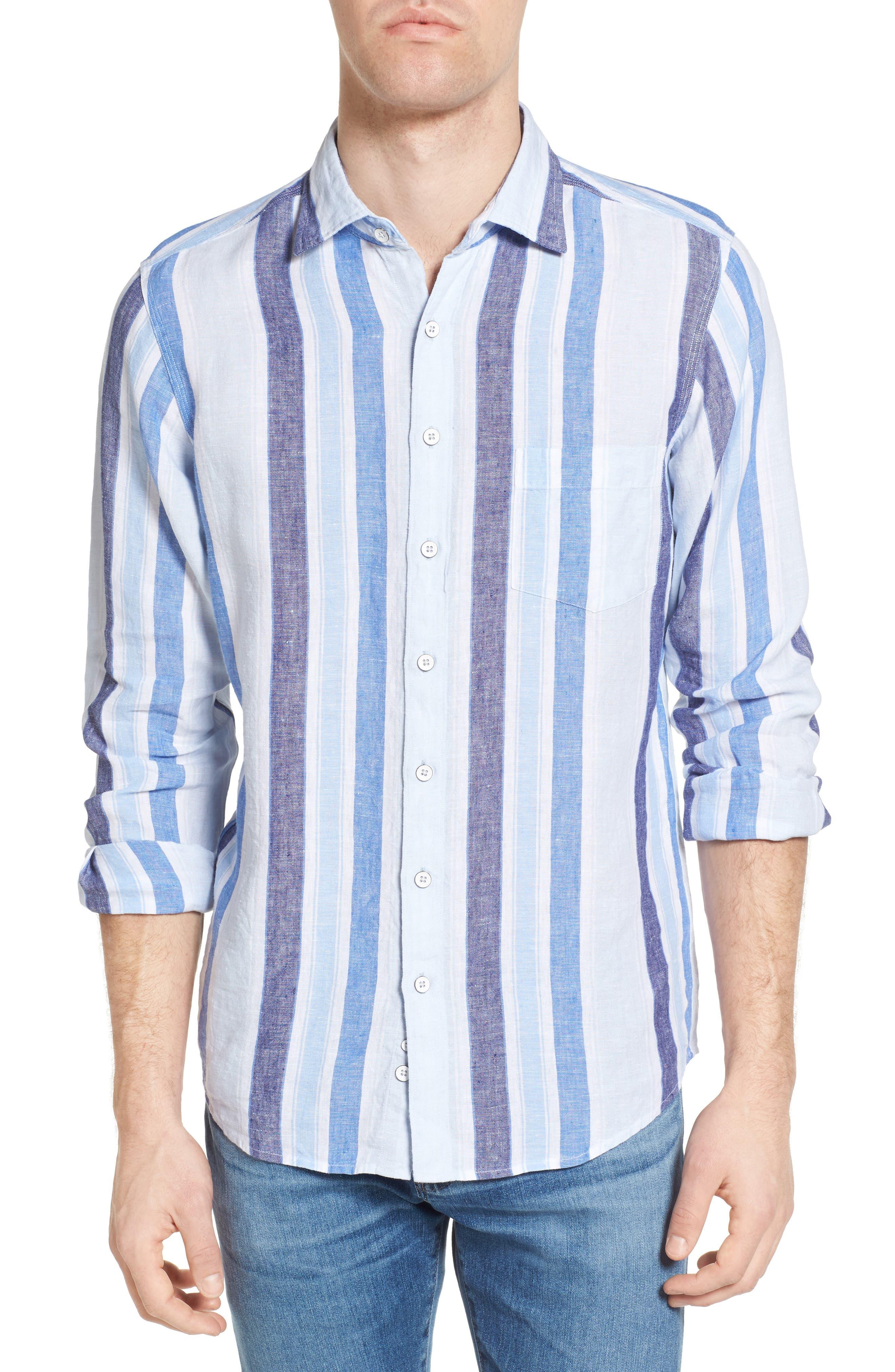 Glenavy Stripe Linen Sport Shirt,                         Main,                         color, 432