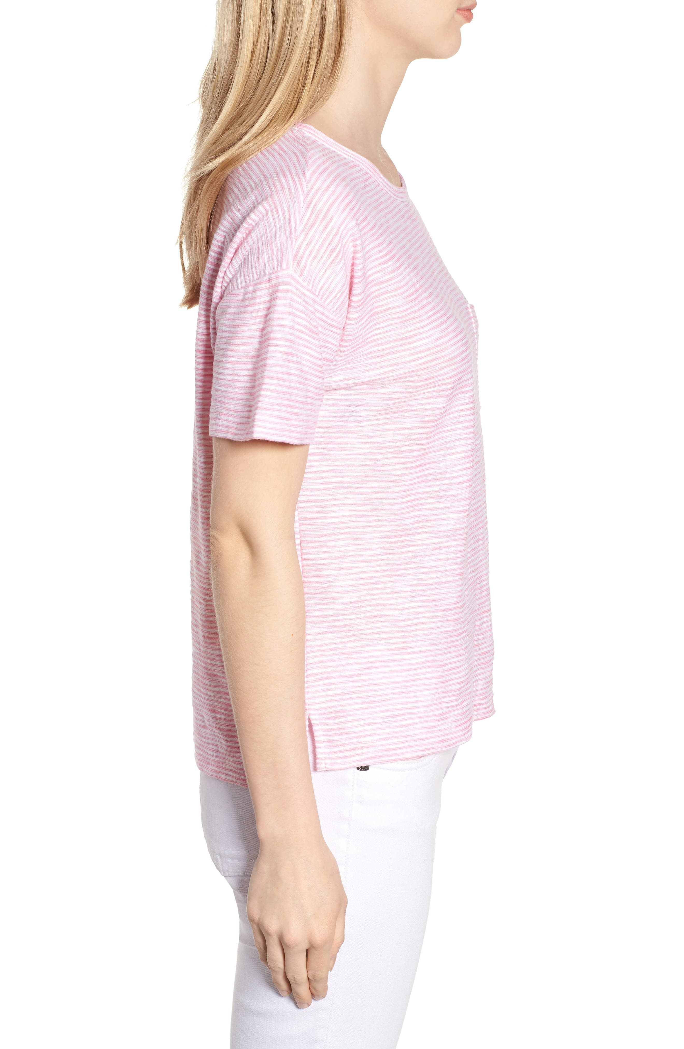 Striped Boxy Tee,                             Alternate thumbnail 3, color,                             654