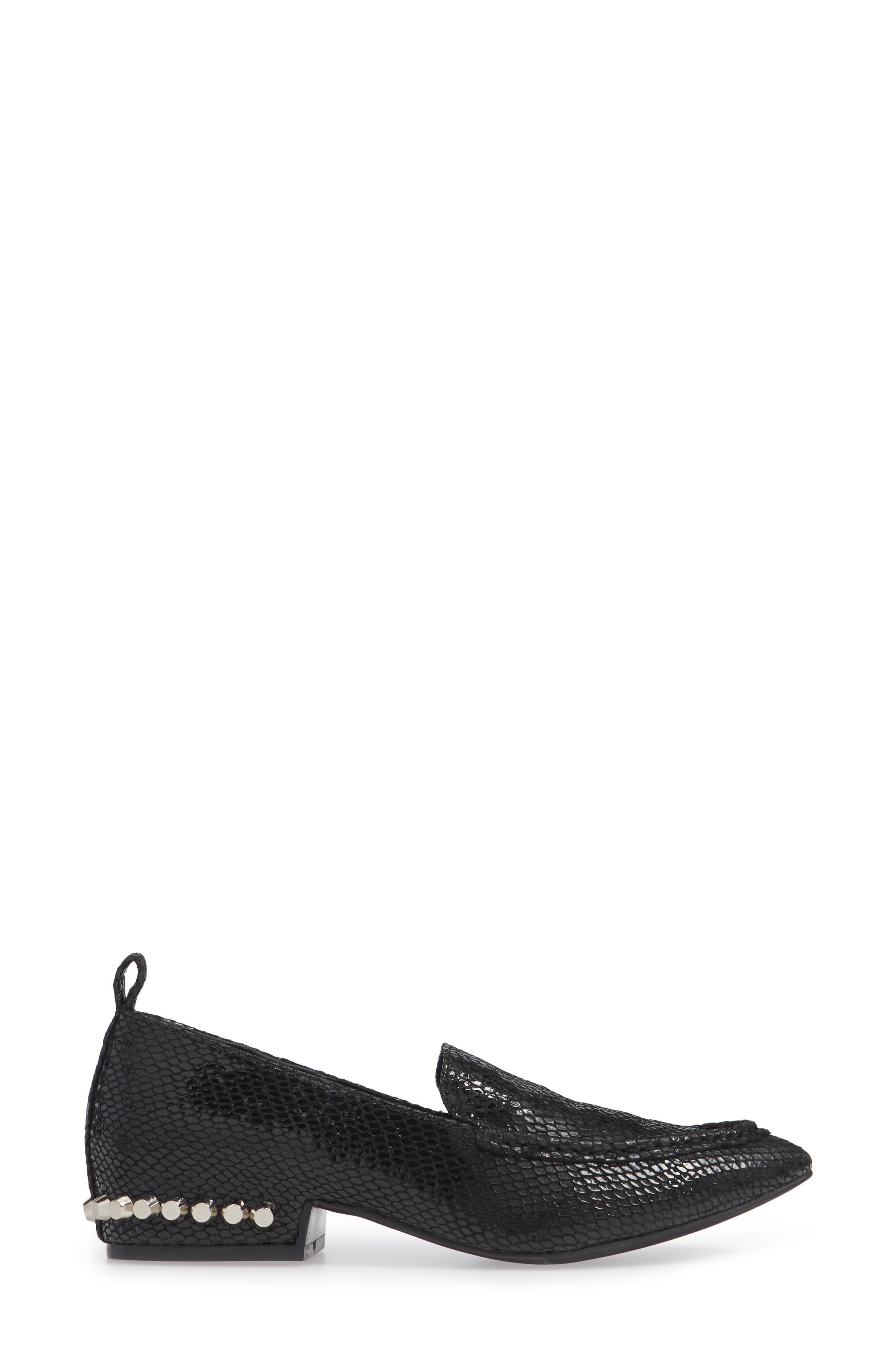 Barnett Studded Loafer,                             Alternate thumbnail 3, color,                             BLACK SNAKE SILVER