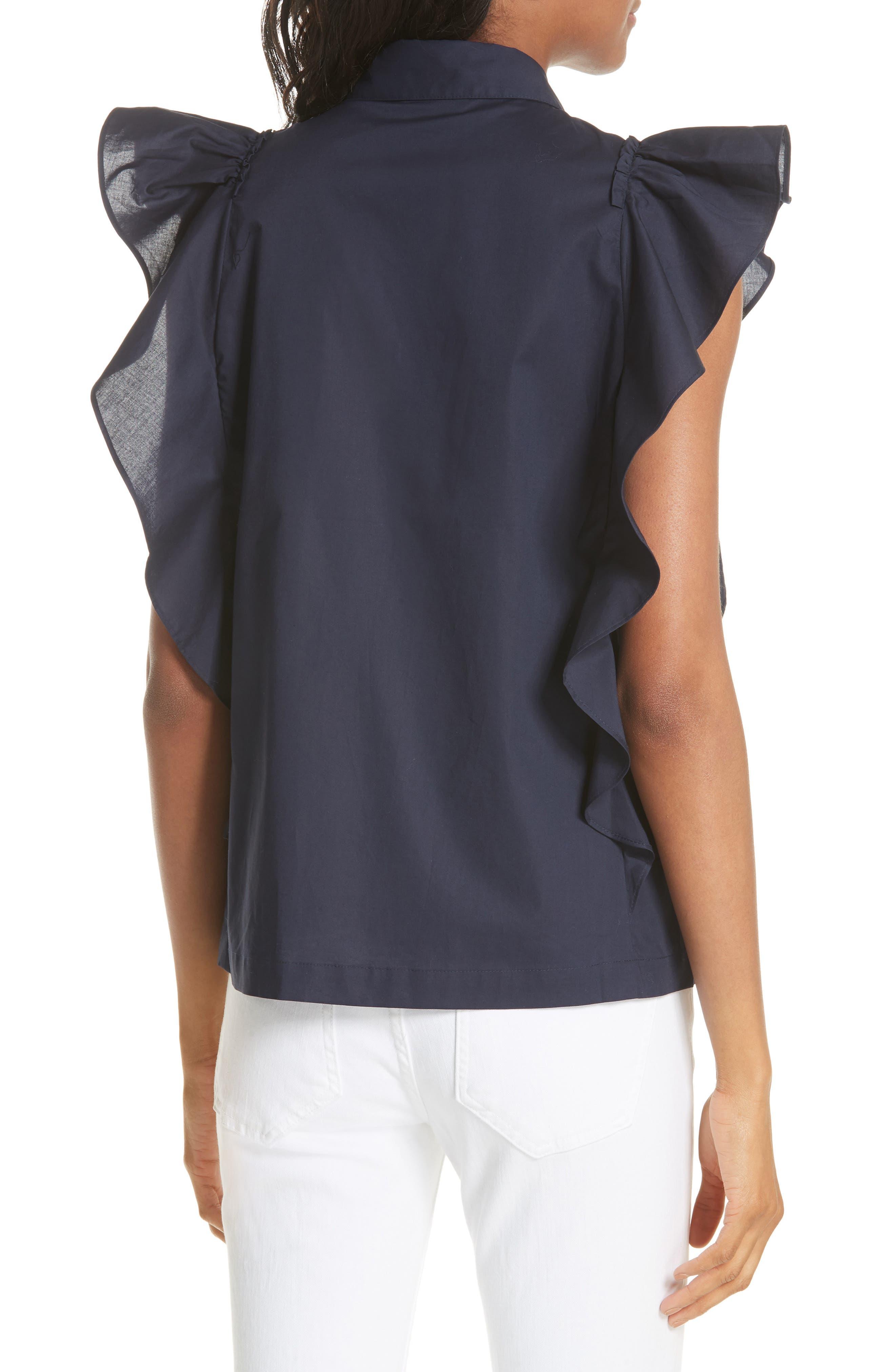 flutter sleeve button down cotton blouse,                             Alternate thumbnail 2, color,