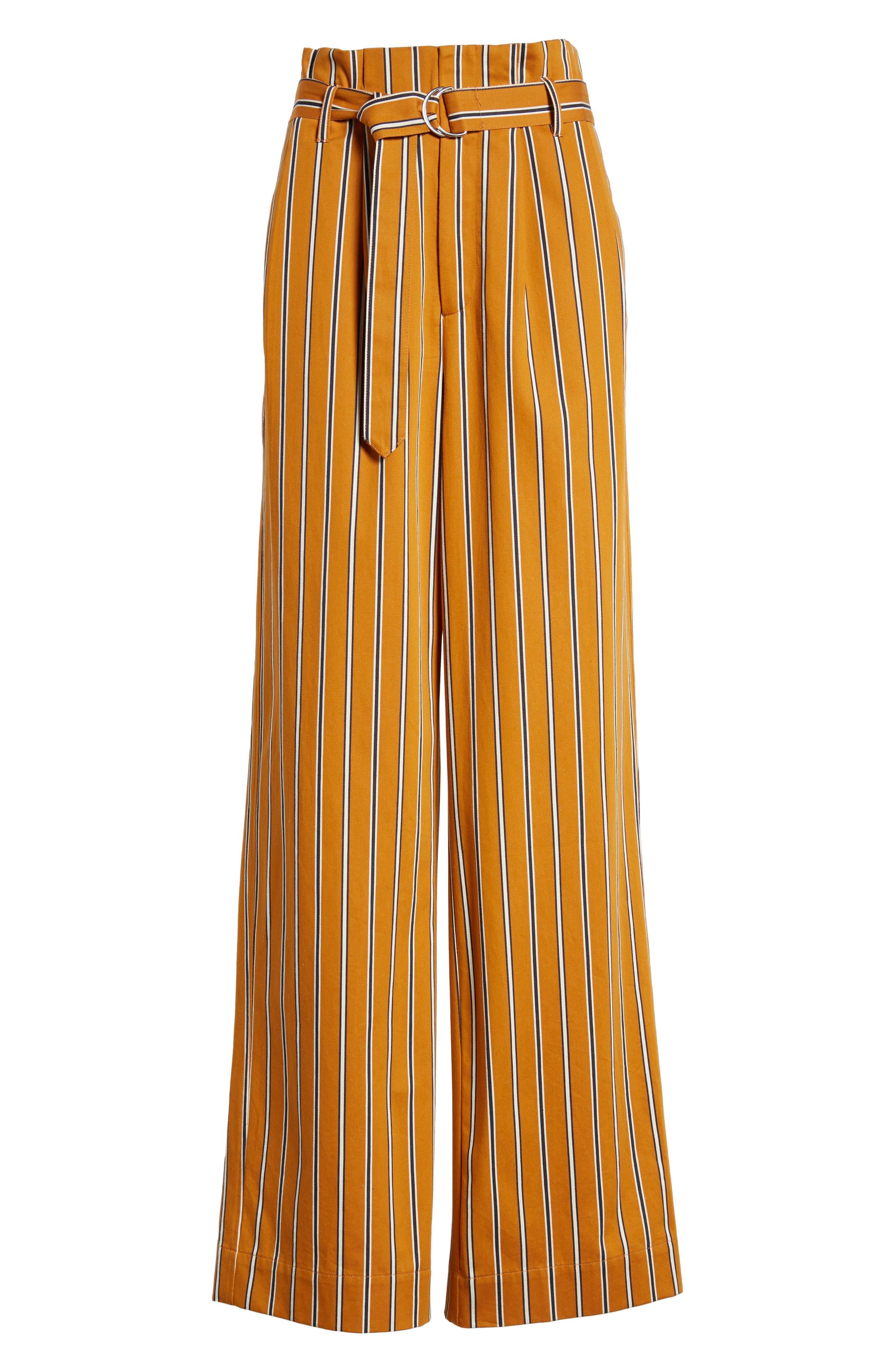 High Waist Wide Leg Stripe Pants,                             Alternate thumbnail 7, color,                             866