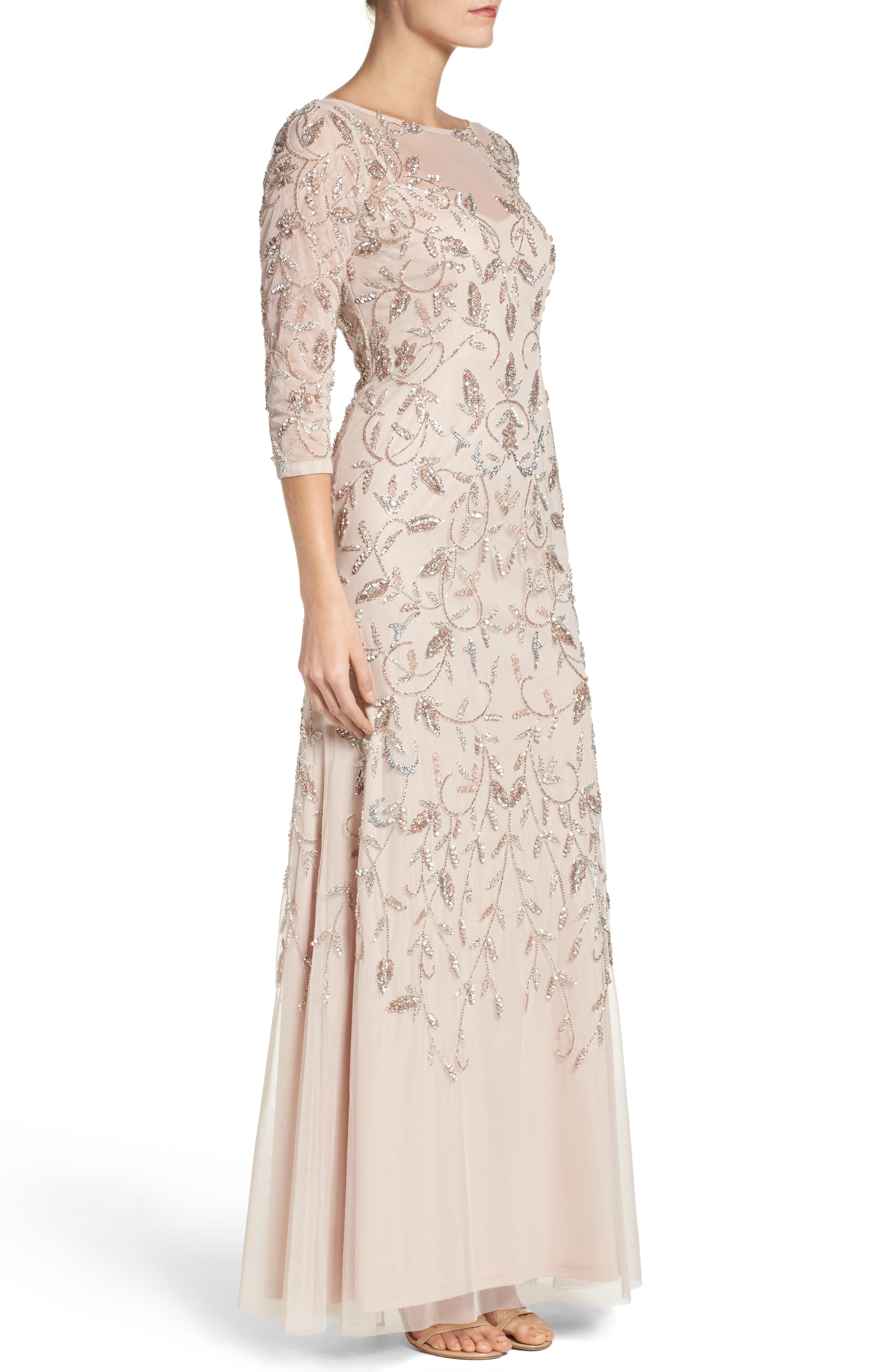 Beaded A-Line Gown,                             Alternate thumbnail 6, color,