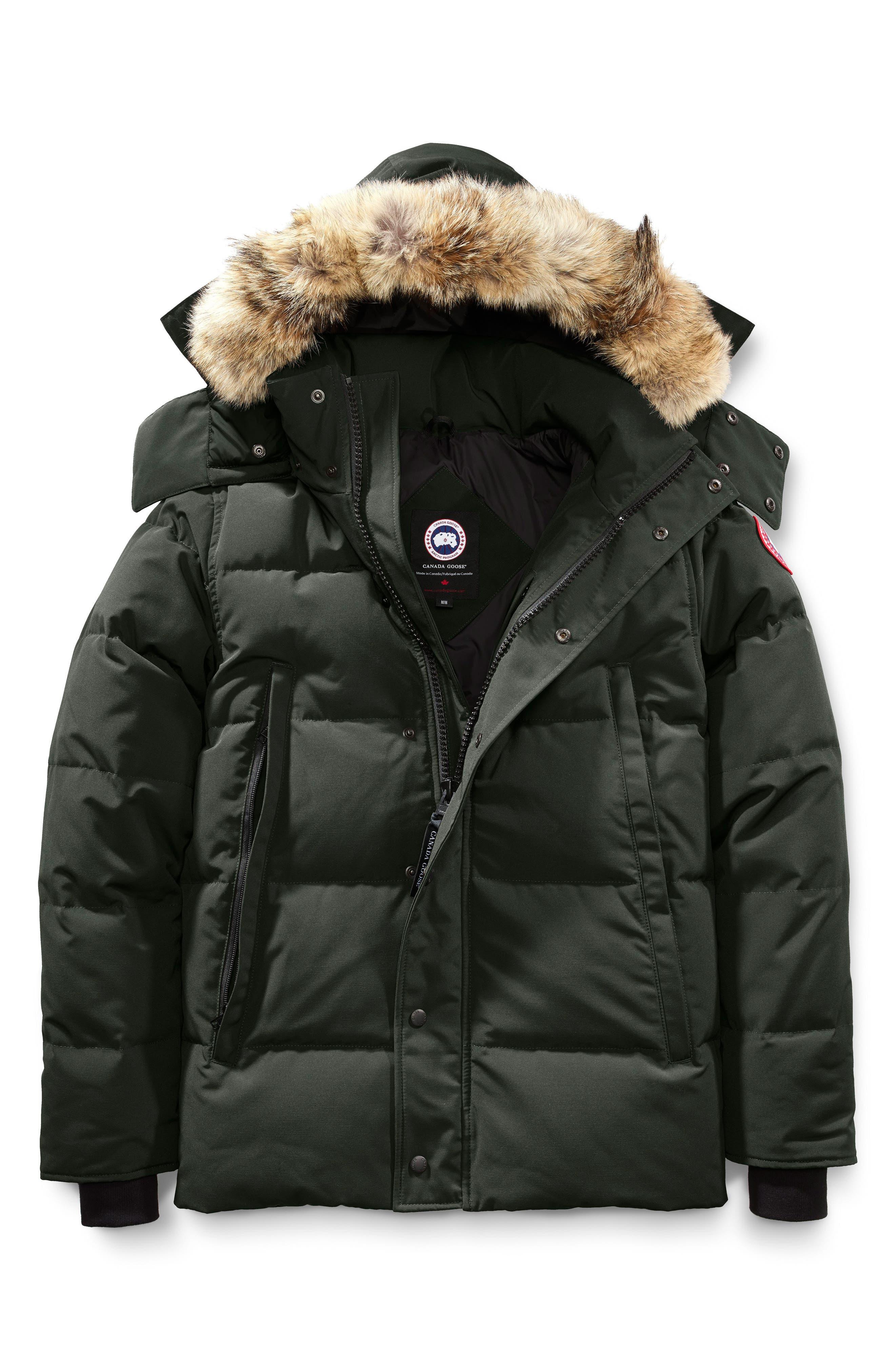 CANADA GOOSE,                             Wyndham Slim Fit Genuine Coyote Fur Trim Down Jacket,                             Alternate thumbnail 4, color,                             VOLCANO