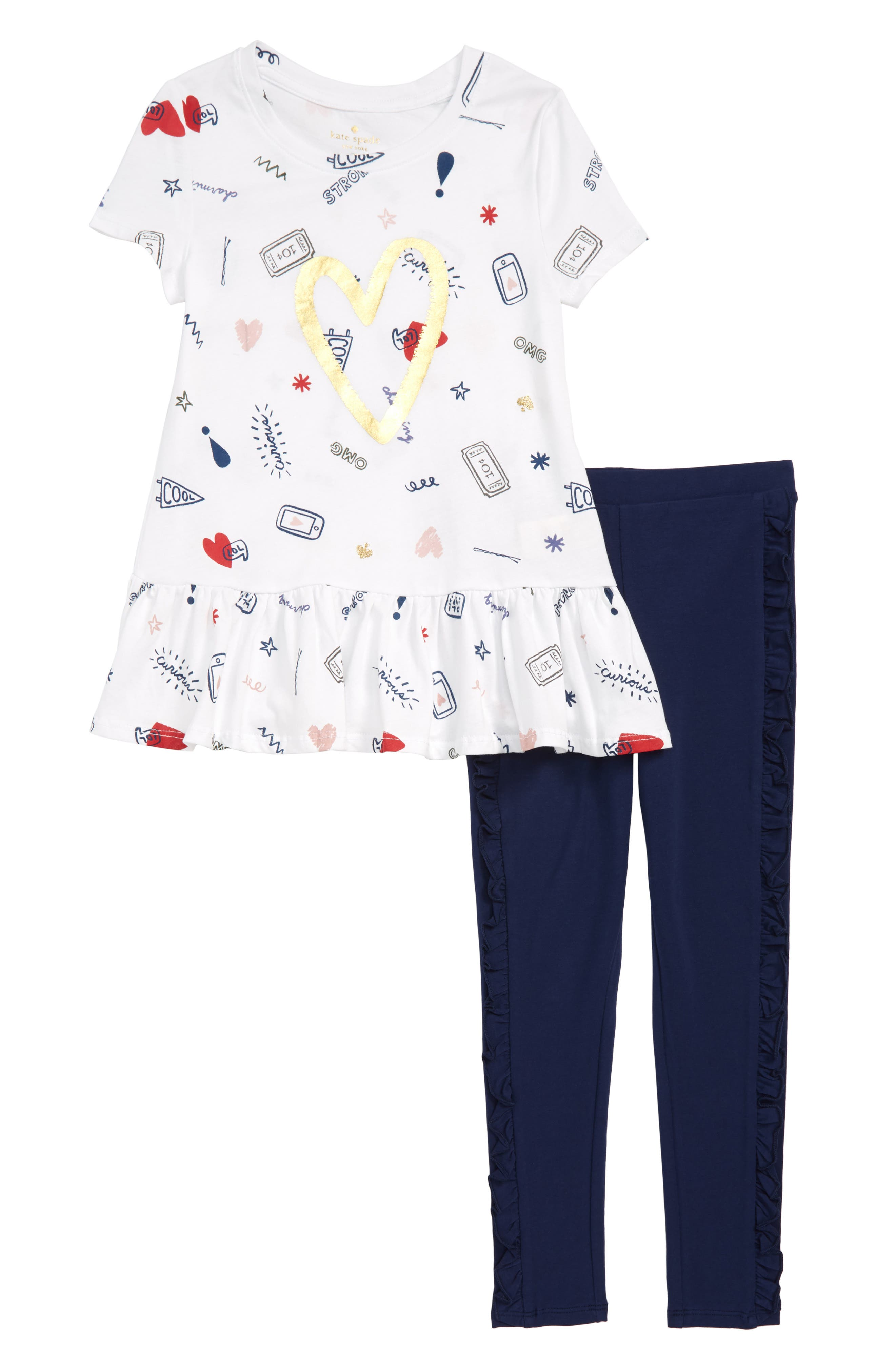 KATE SPADE NEW YORK doodle print tunic & leggings set, Main, color, 100