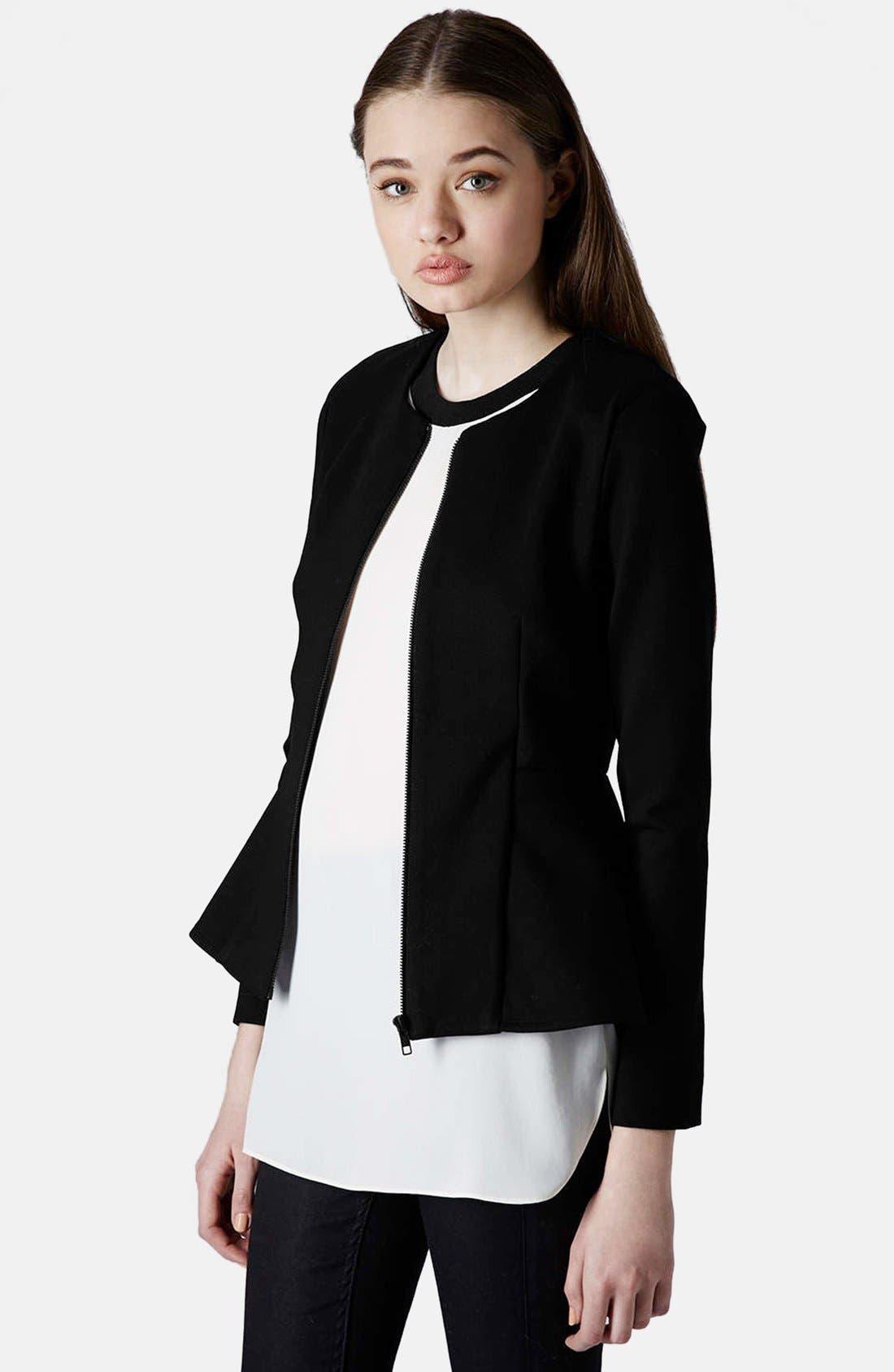 Tailored Peplum Jacket,                             Main thumbnail 1, color,                             001