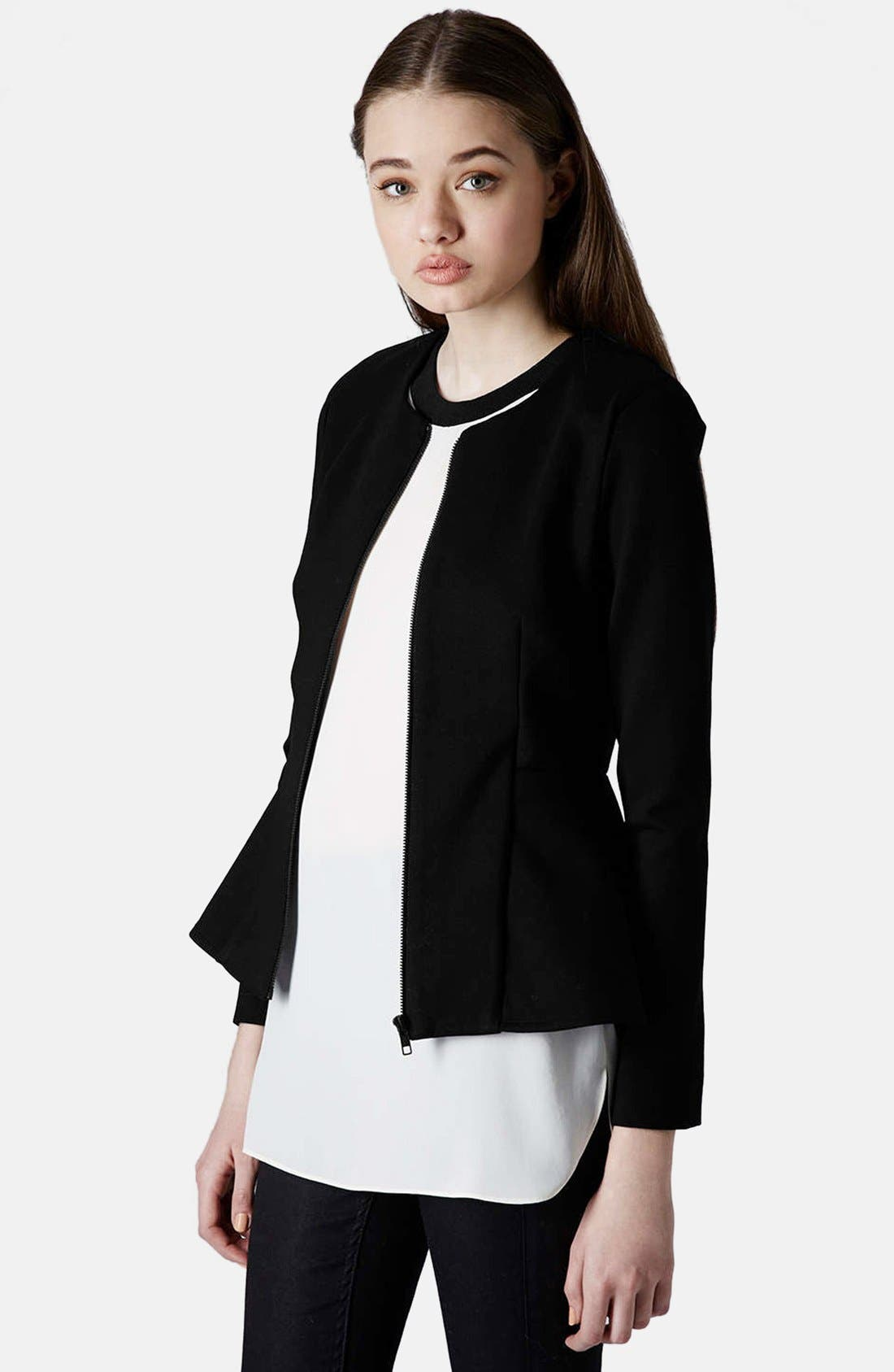 Tailored Peplum Jacket,                         Main,                         color, 001