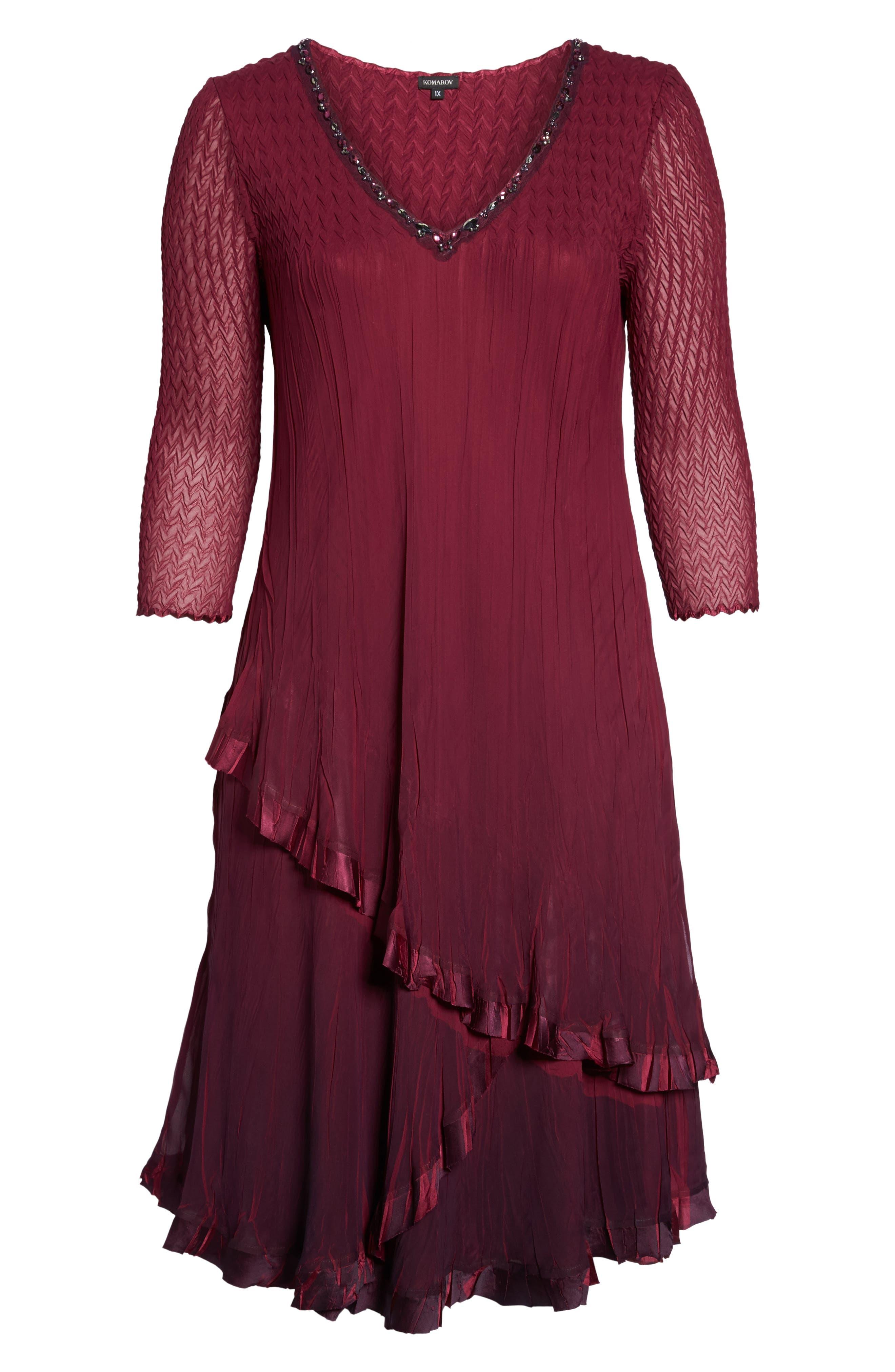 Tiered Ombrè Charmeuse & Chiffon Dress,                             Alternate thumbnail 6, color,
