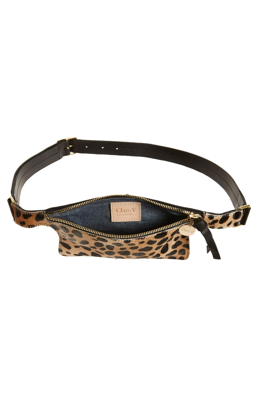 CLARE V.,                             Genuine Calf Hair Fanny Pack,                             Alternate thumbnail 5, color,                             001