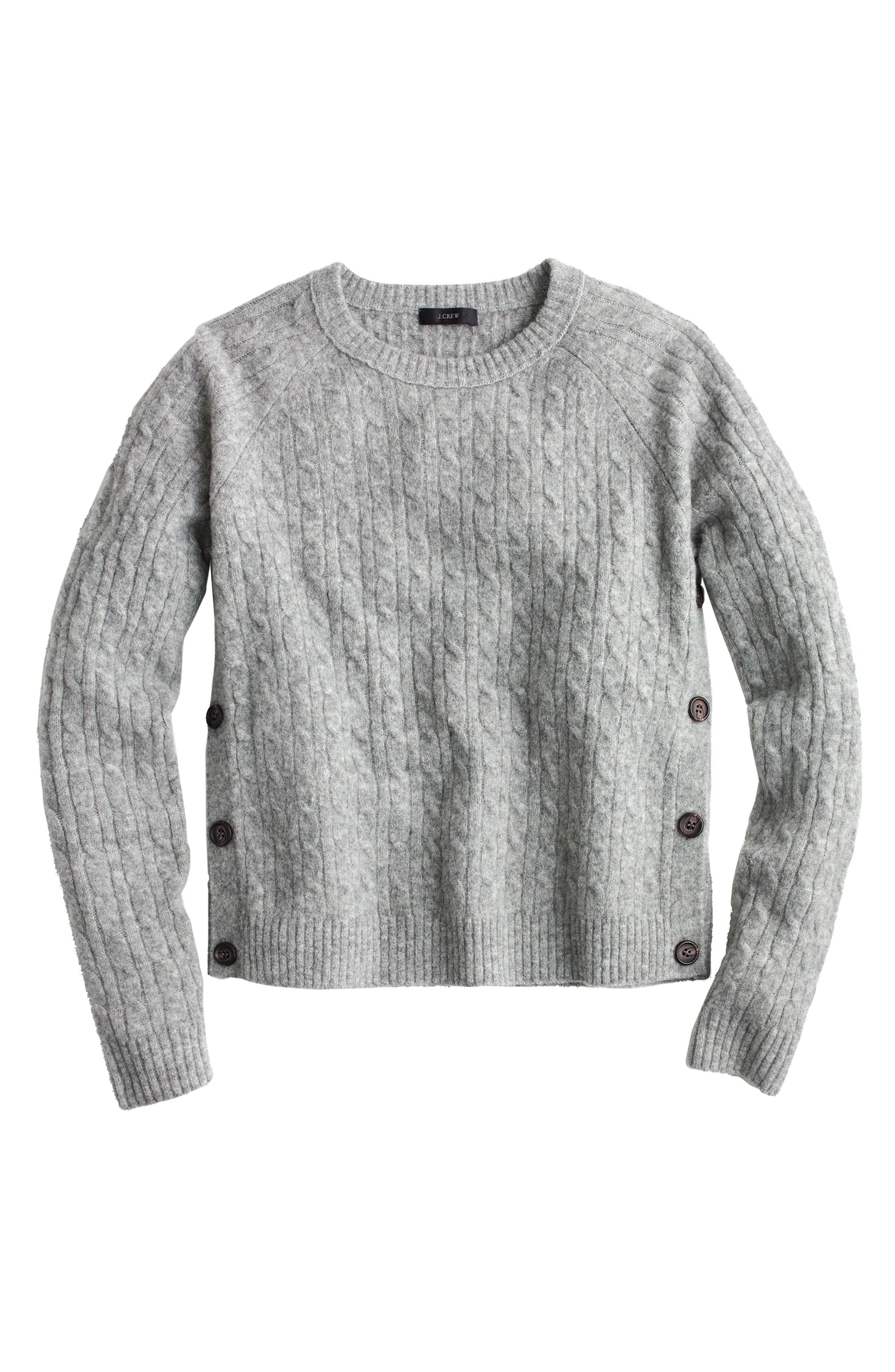 Cable Knit Sweater with Buttons,                             Main thumbnail 1, color,                             020