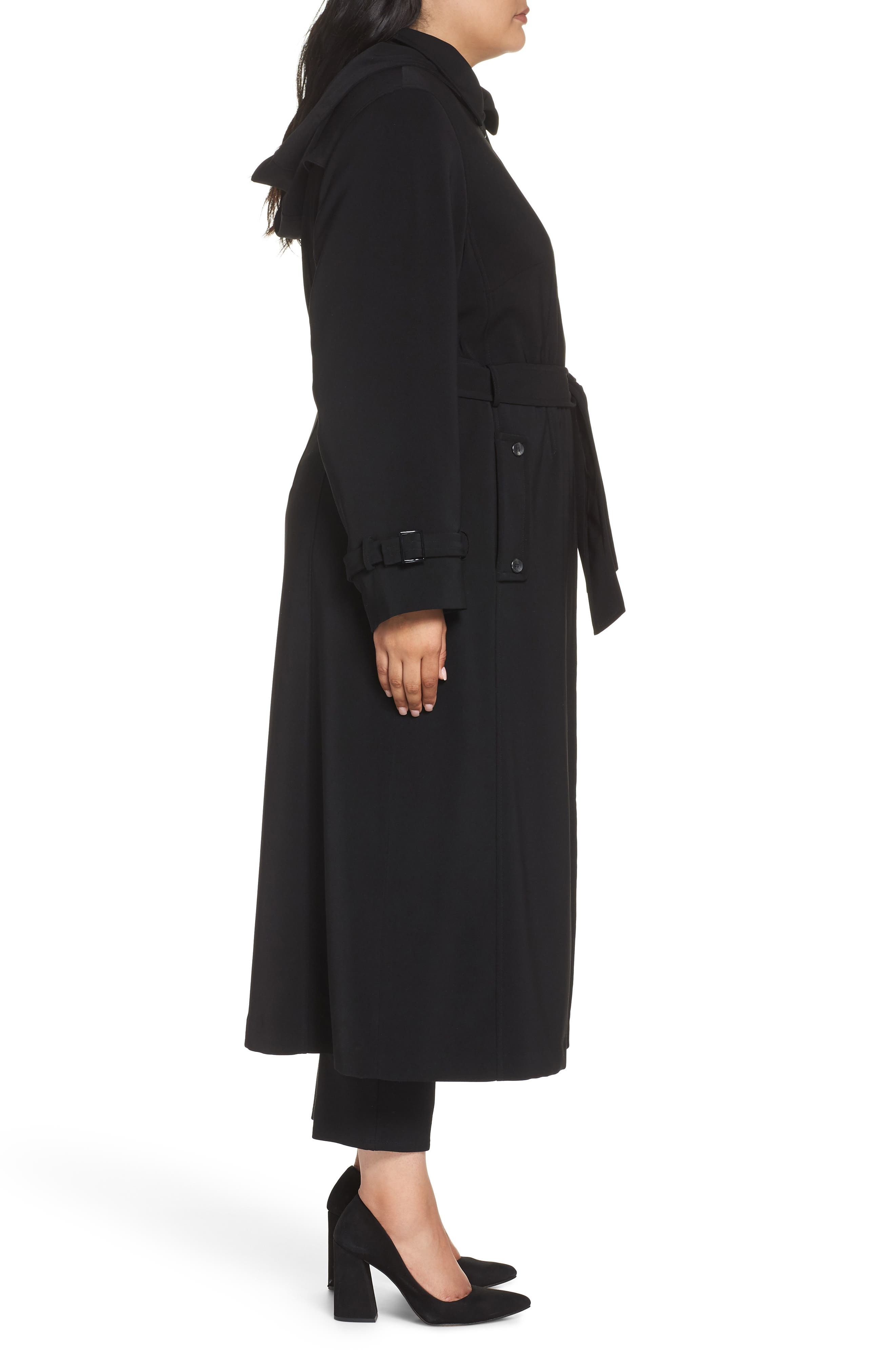 Long Nepage Raincoat with Detachable Hood & Liner,                             Alternate thumbnail 4, color,                             BLACK