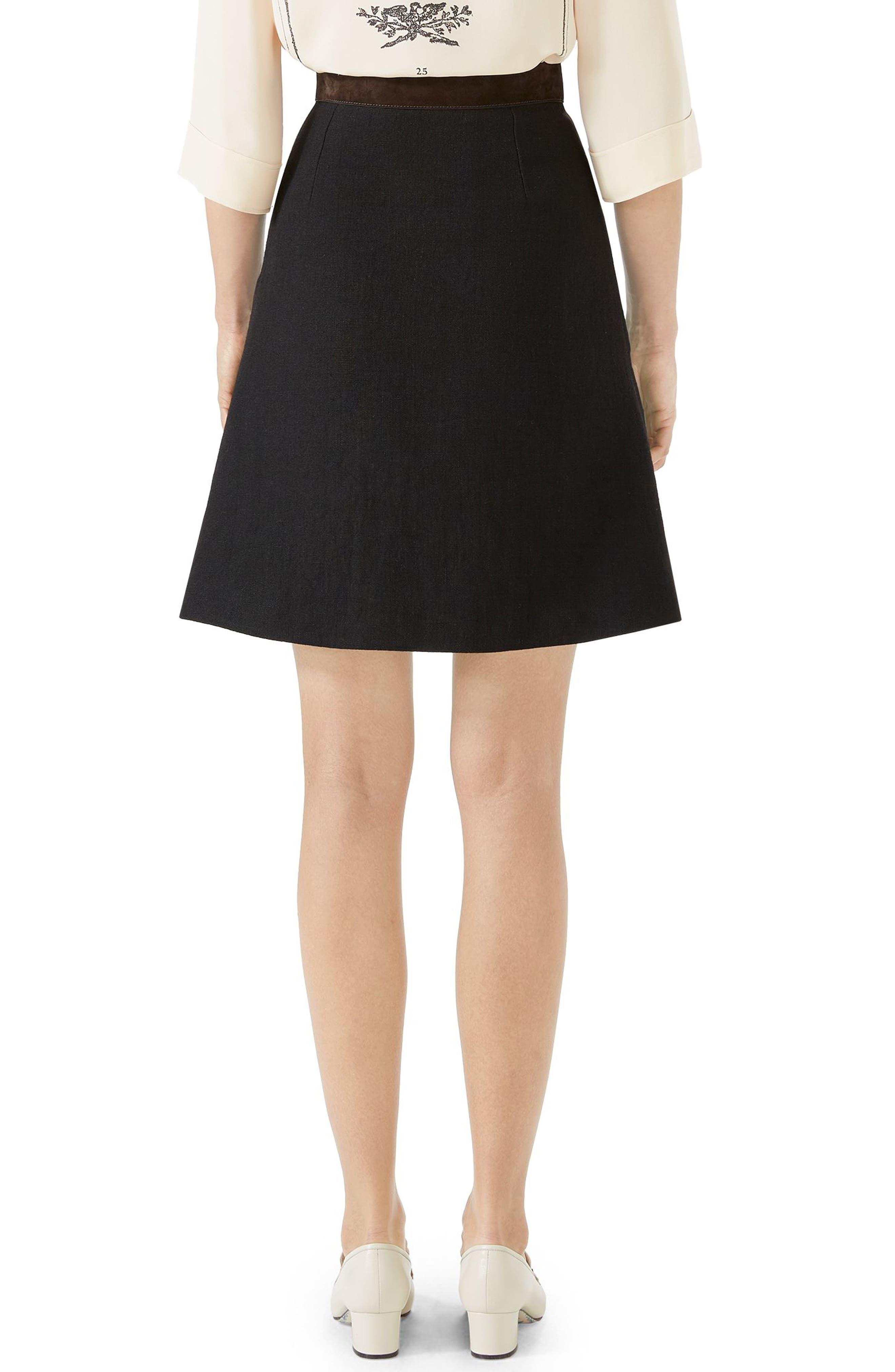 Linen Skirt with Suede Belt,                             Alternate thumbnail 2, color,                             BLACK