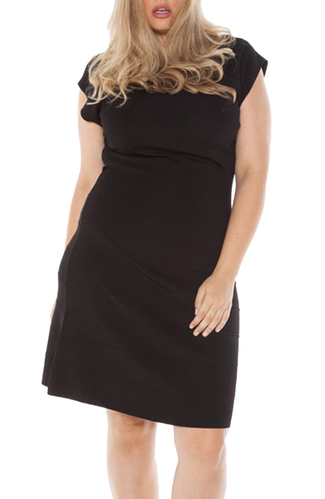 Cap Sleeve Knit A-Line Dress,                         Main,                         color,