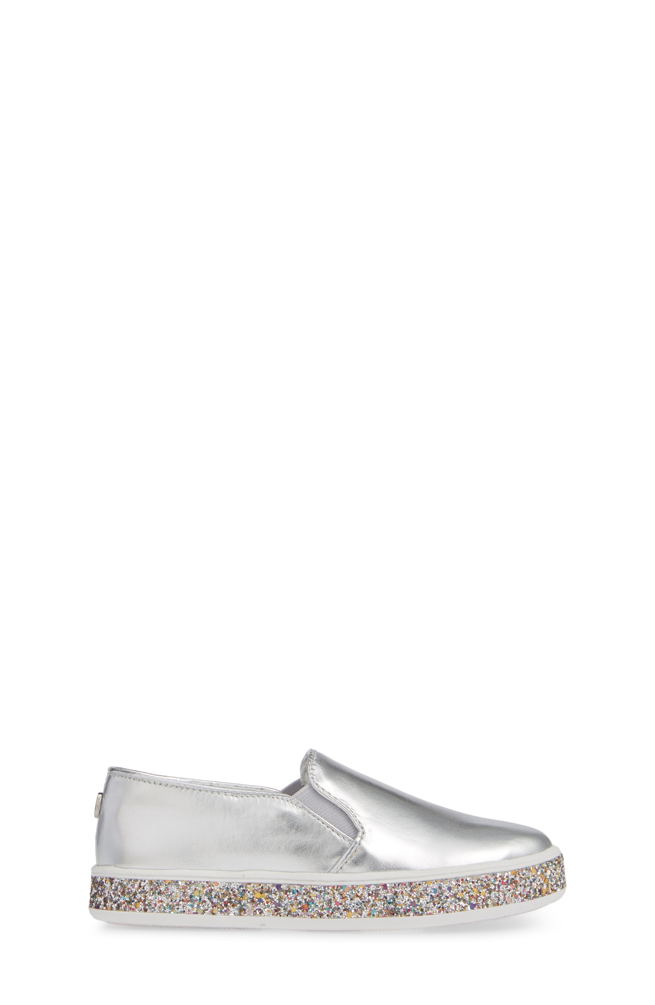 Jglorie Glitter Slip-On Sneaker,                             Alternate thumbnail 3, color,                             SILVER