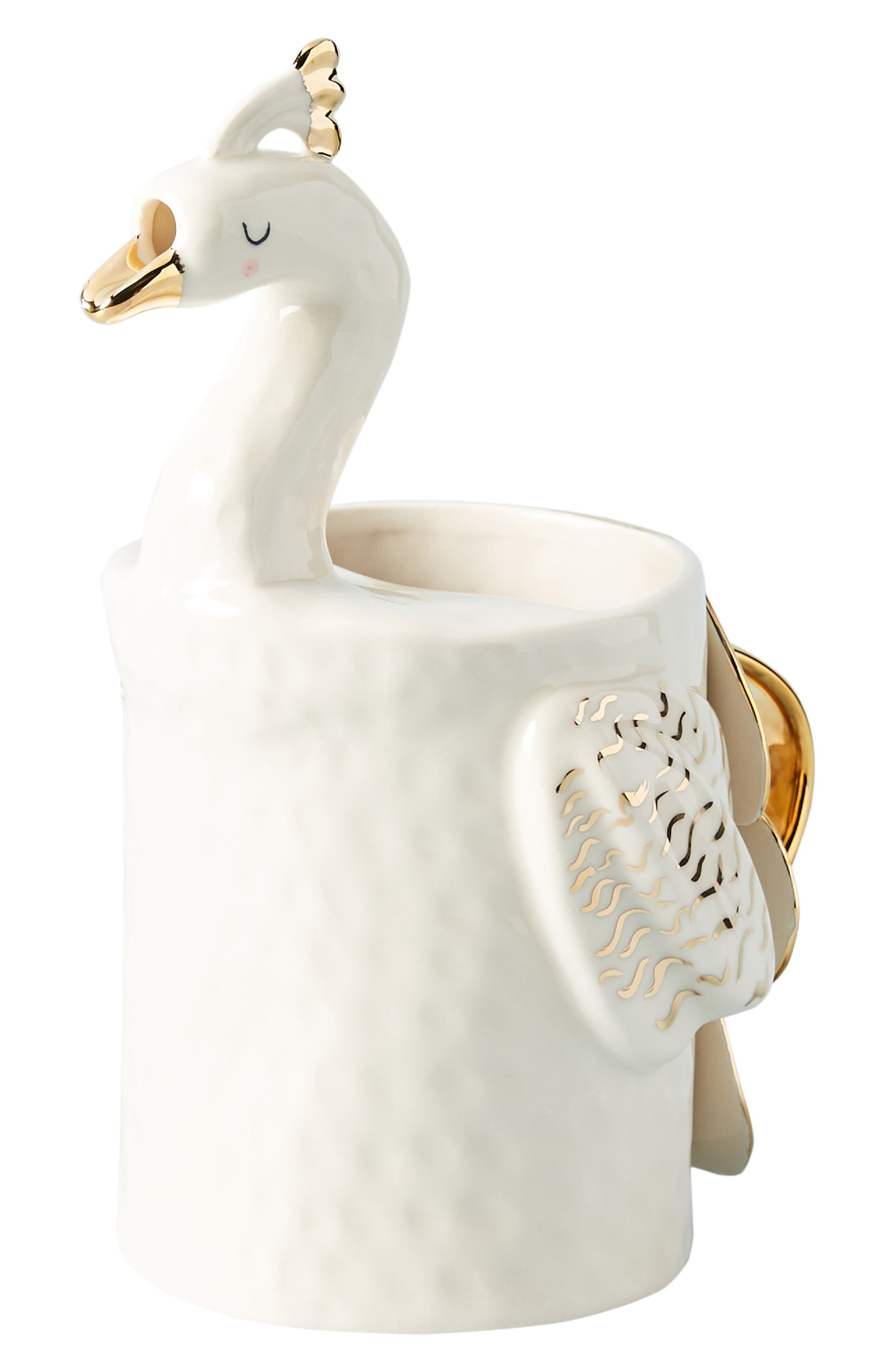 Fauna Fête Peacock Pitcher,                             Alternate thumbnail 4, color,                             WHITE/ GOLD