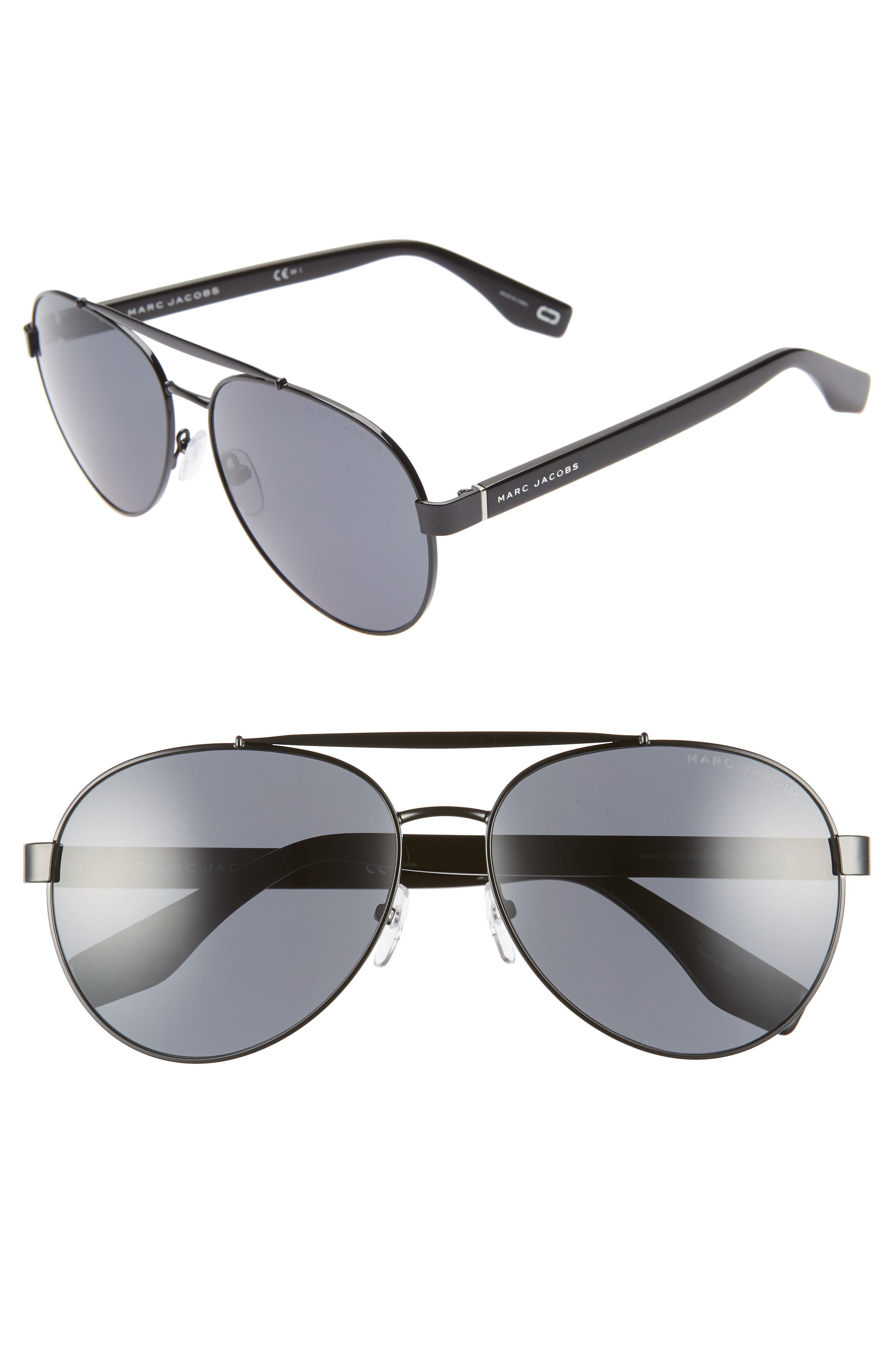 60mm Aviator Sunglasses,                             Main thumbnail 1, color,                             BLACK