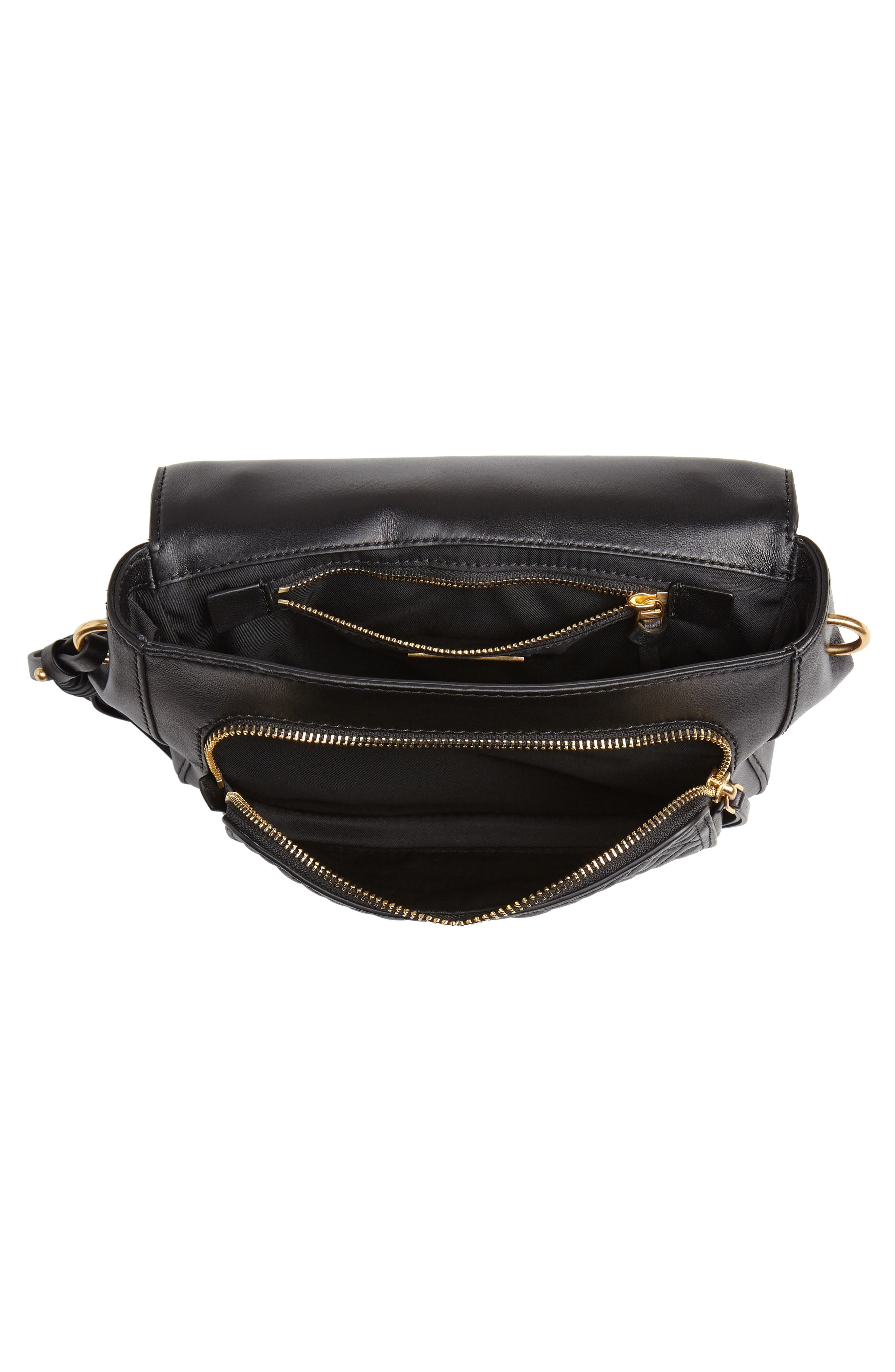 TORY BURCH,                             Fleming Quilted Leather Top Handle Satchel,                             Alternate thumbnail 4, color,                             BLACK