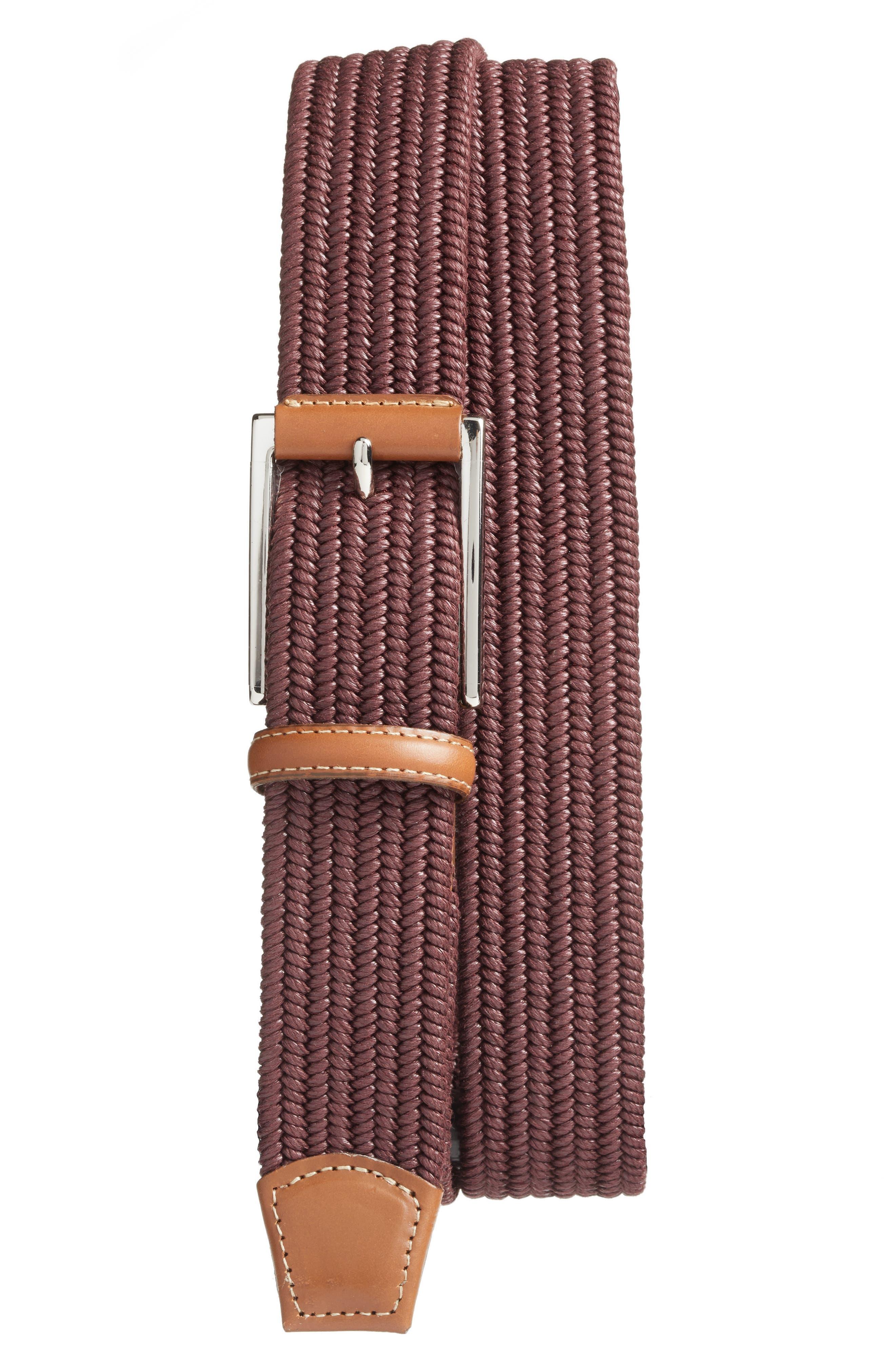Torino Belts Woven Belt, Burgundy