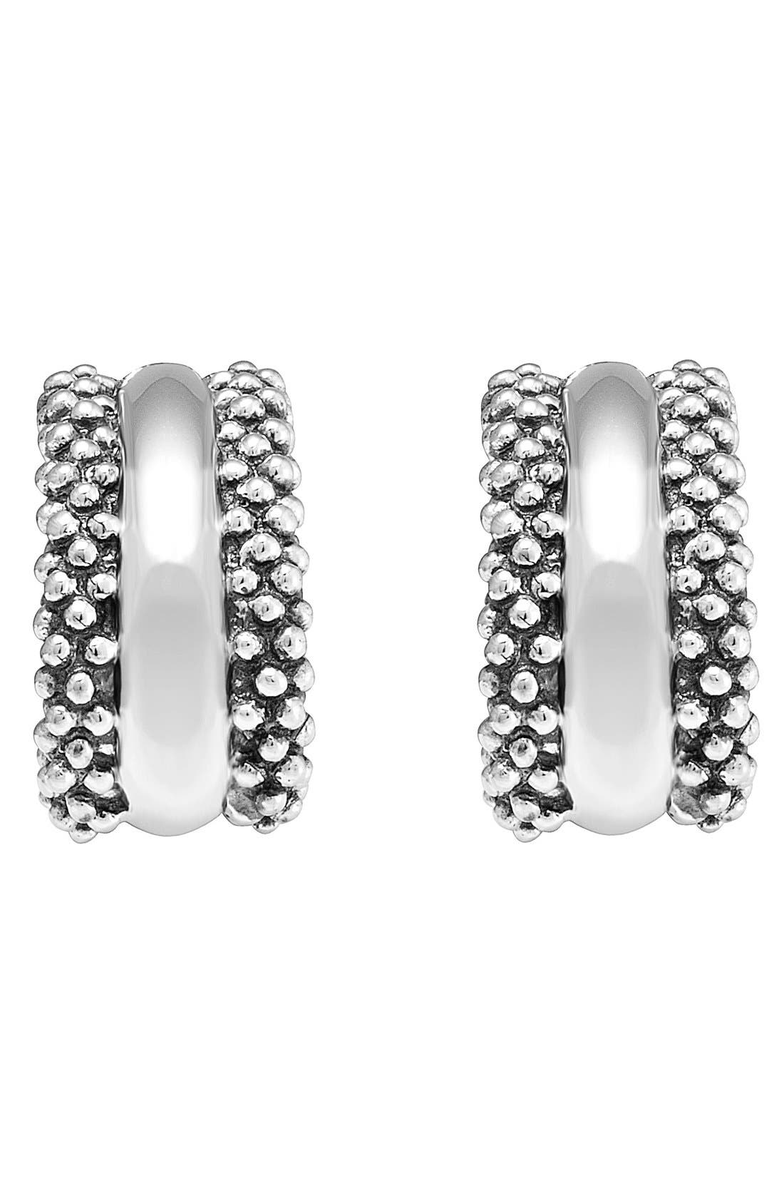 Caviar<sup>™</sup> Sterling Silver Hoop Earrings,                             Alternate thumbnail 3, color,                             STERLING SILVER