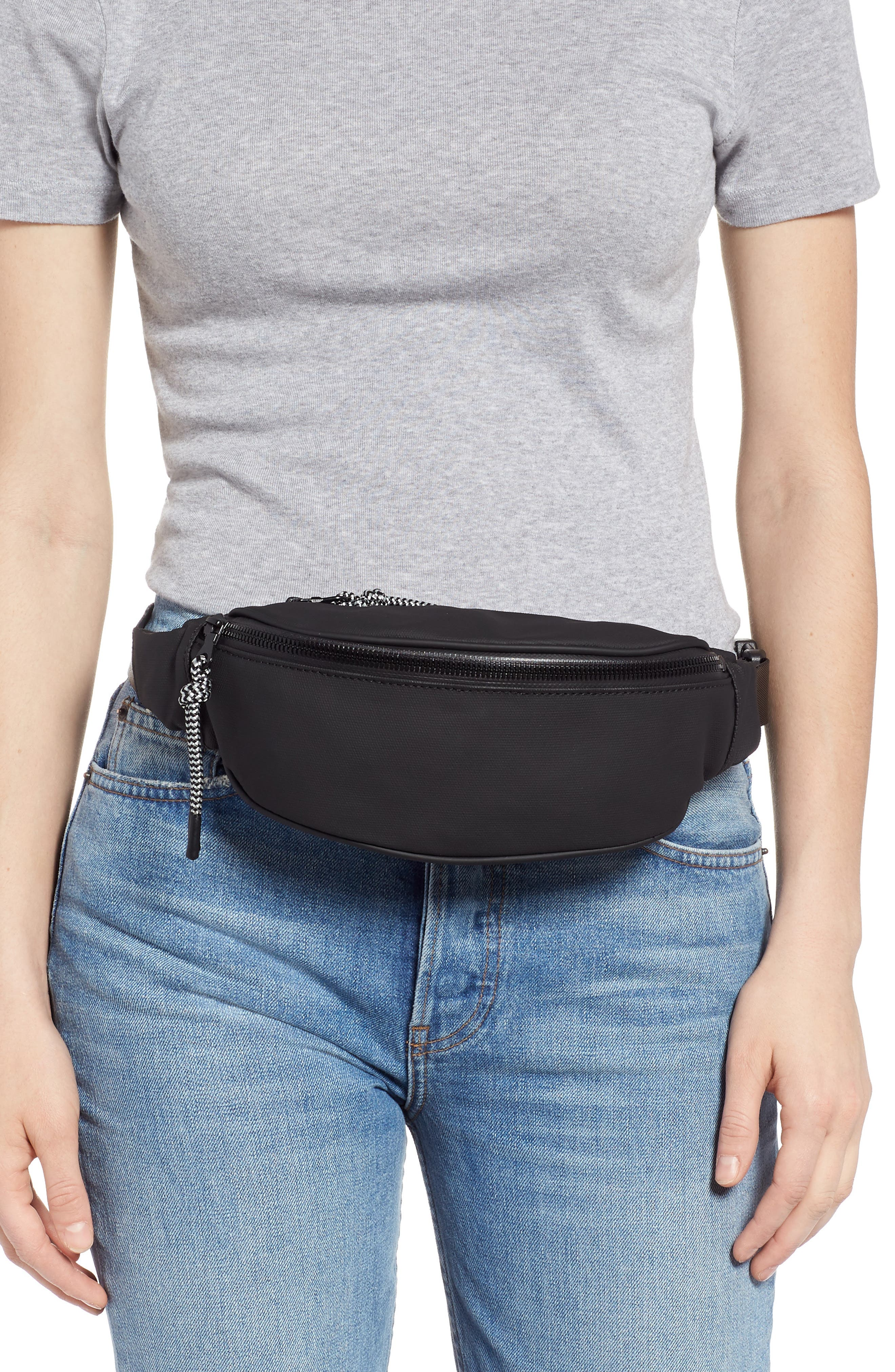 Mason Water Resistant Belt Bag,                             Alternate thumbnail 2, color,                             BLACK/ BLACK