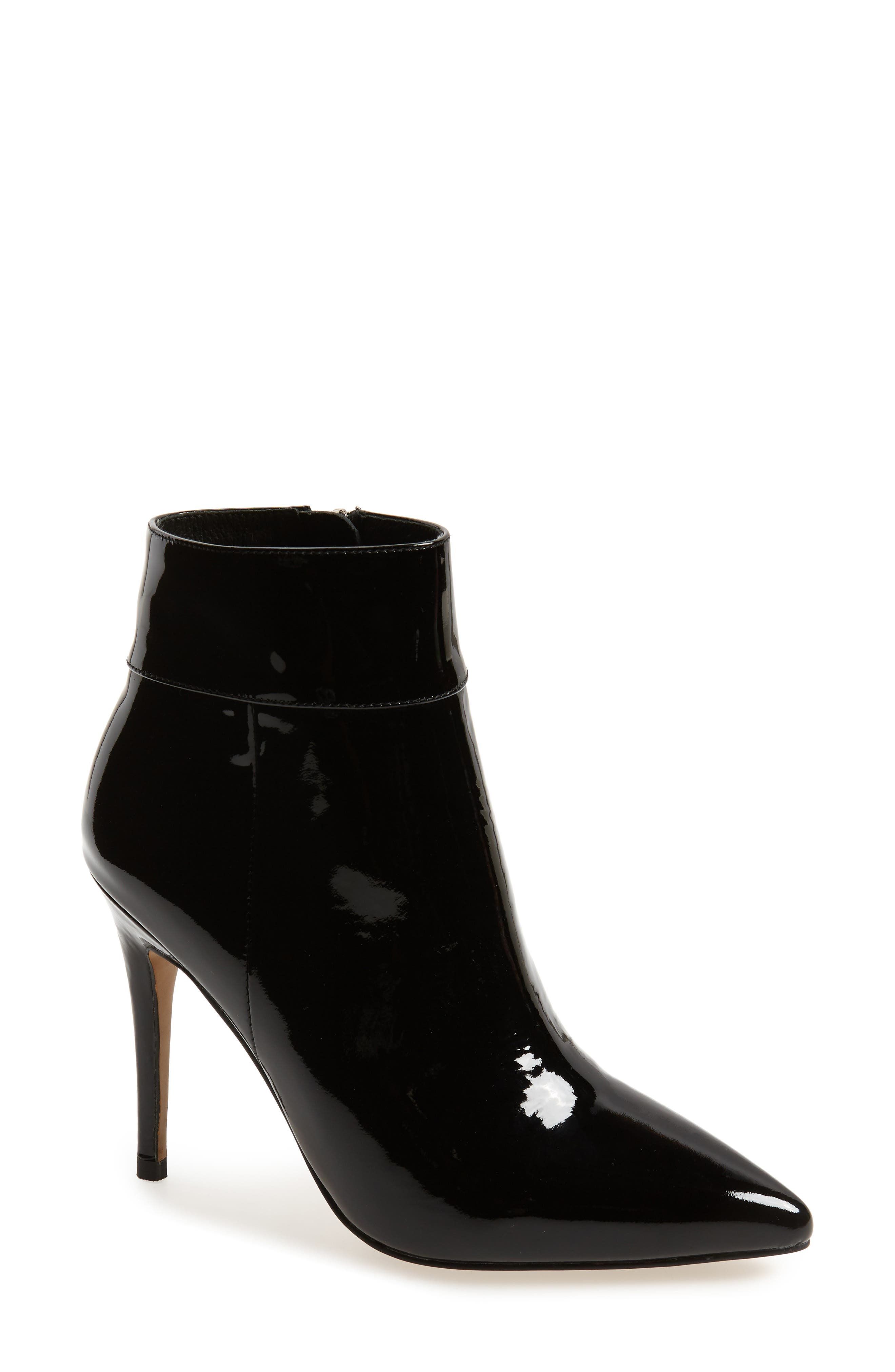 Tally Pointy Toe Bootie in Black Patent Leather