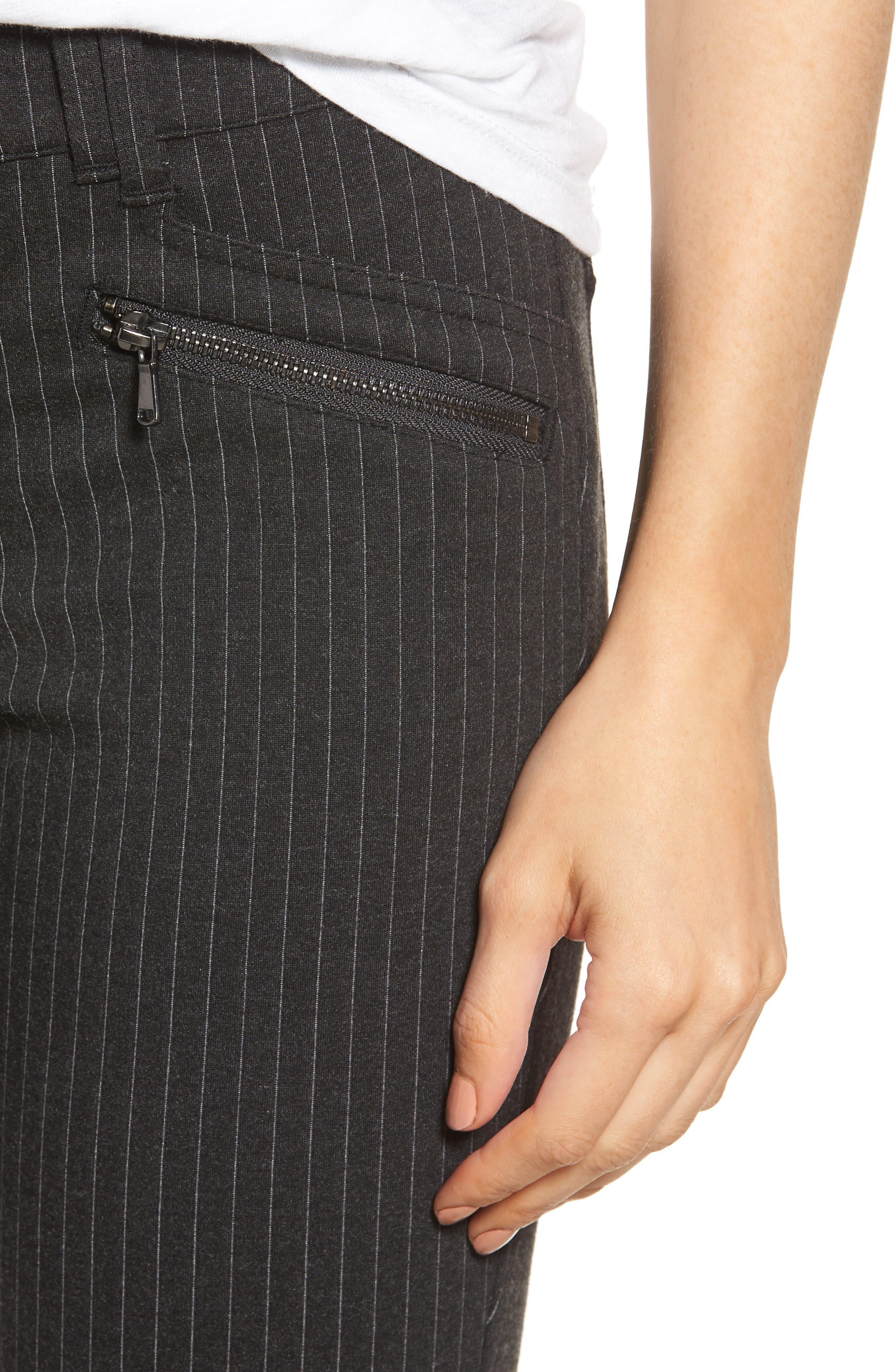 Ab-Solution Skinny Ponte Pants,                             Alternate thumbnail 6, color,                             CHARCOAL PIN STRIPE