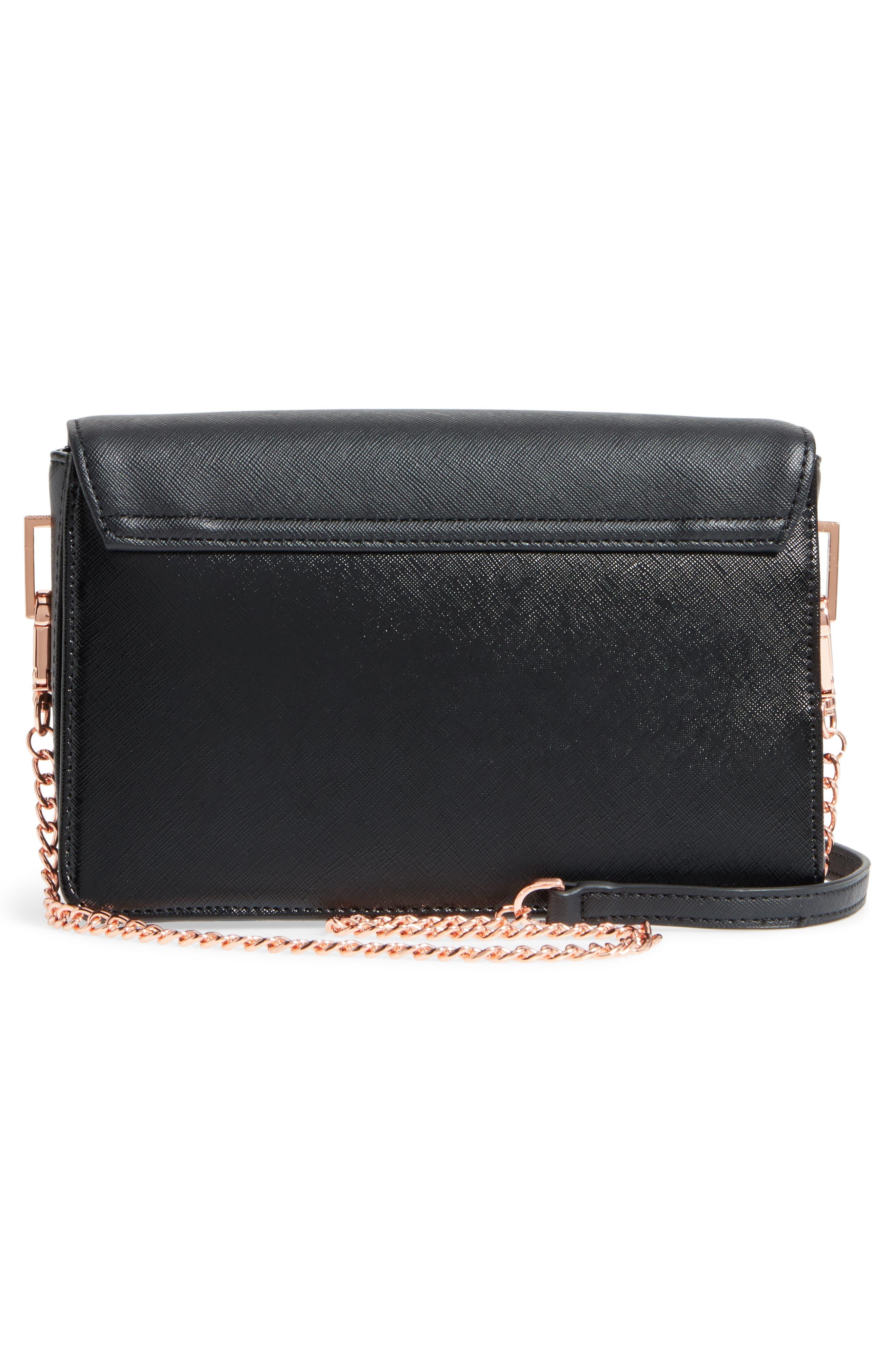 Heatha Faux Leather Crossbody Bag,                             Alternate thumbnail 3, color,                             001