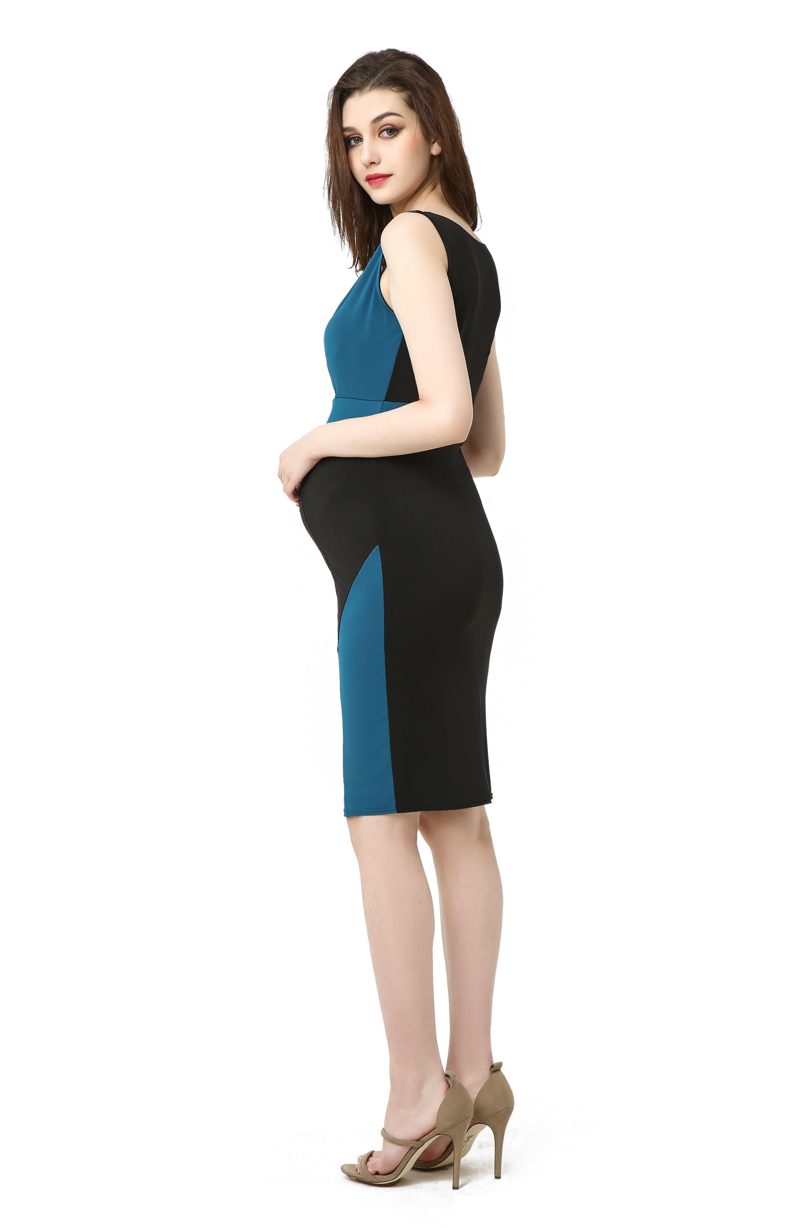 Sophia Colorblock Body-Con Maternity Dress,                             Alternate thumbnail 5, color,                             BLACK/ DEEP SEA