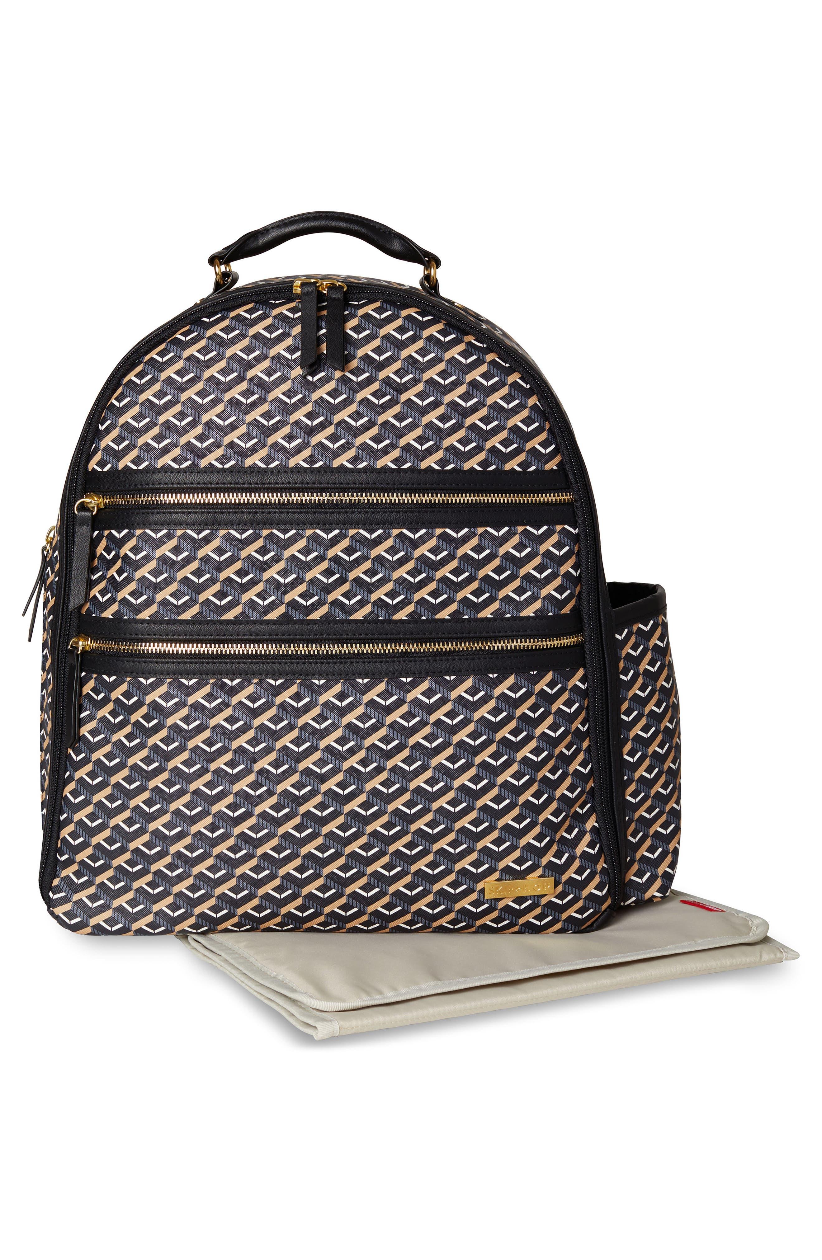 Saffiano Diaper Backpack,                             Alternate thumbnail 3, color,                             DECO BLACK