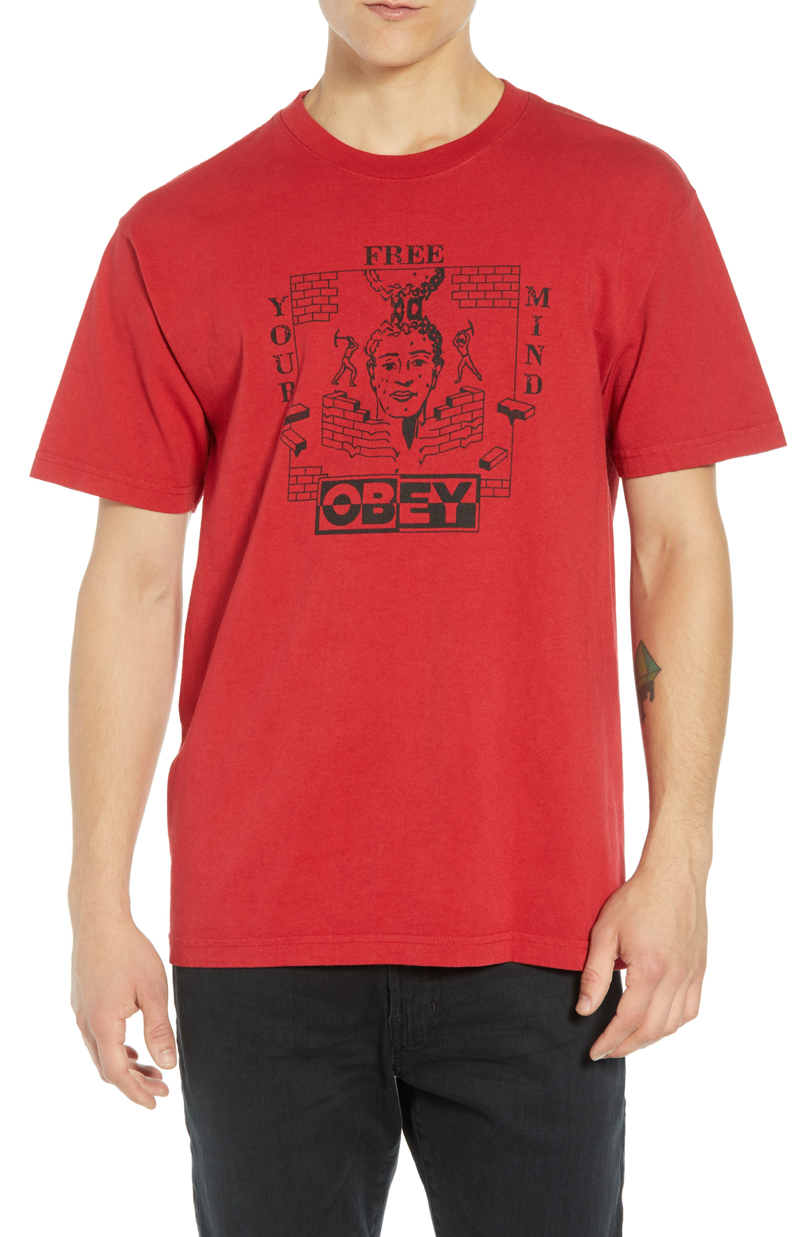 Free Your Mind Box T-Shirt,                         Main,                         color, FIRE RED