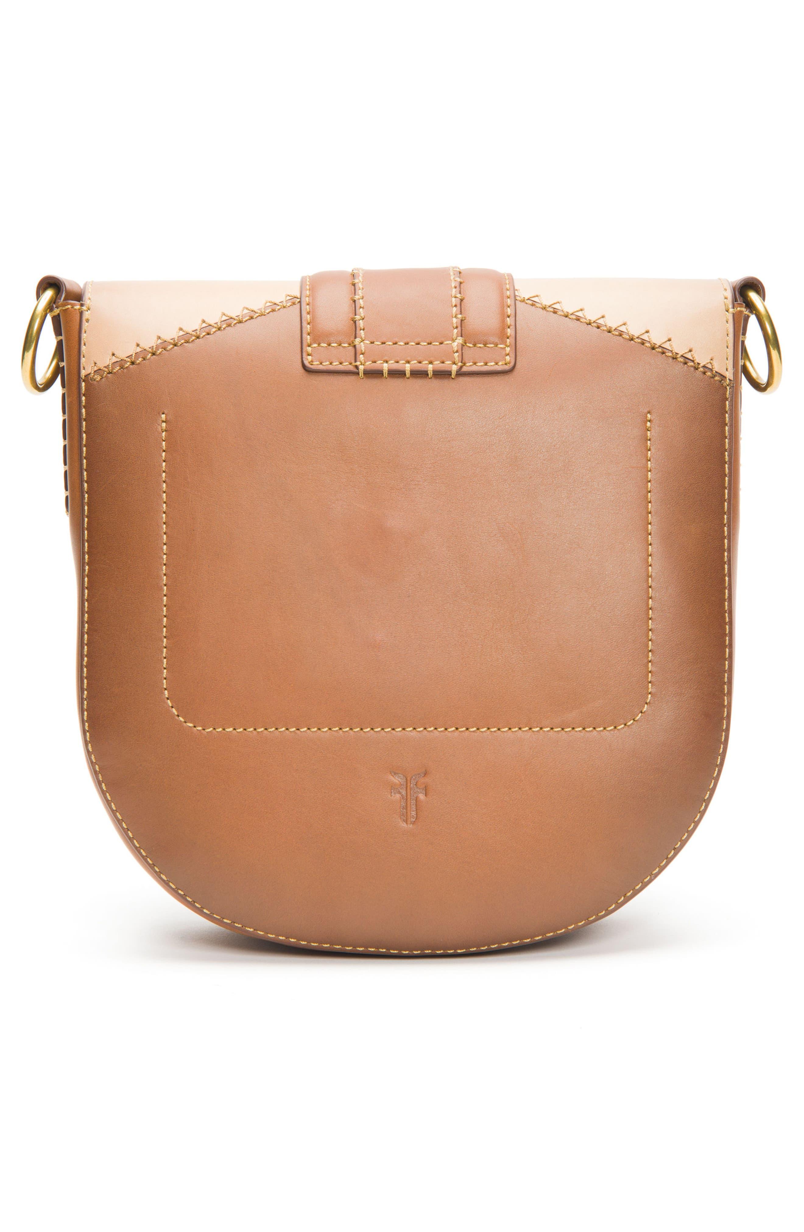 Ilana Colorblock Leather Saddle Bag,                             Alternate thumbnail 3, color,                             200