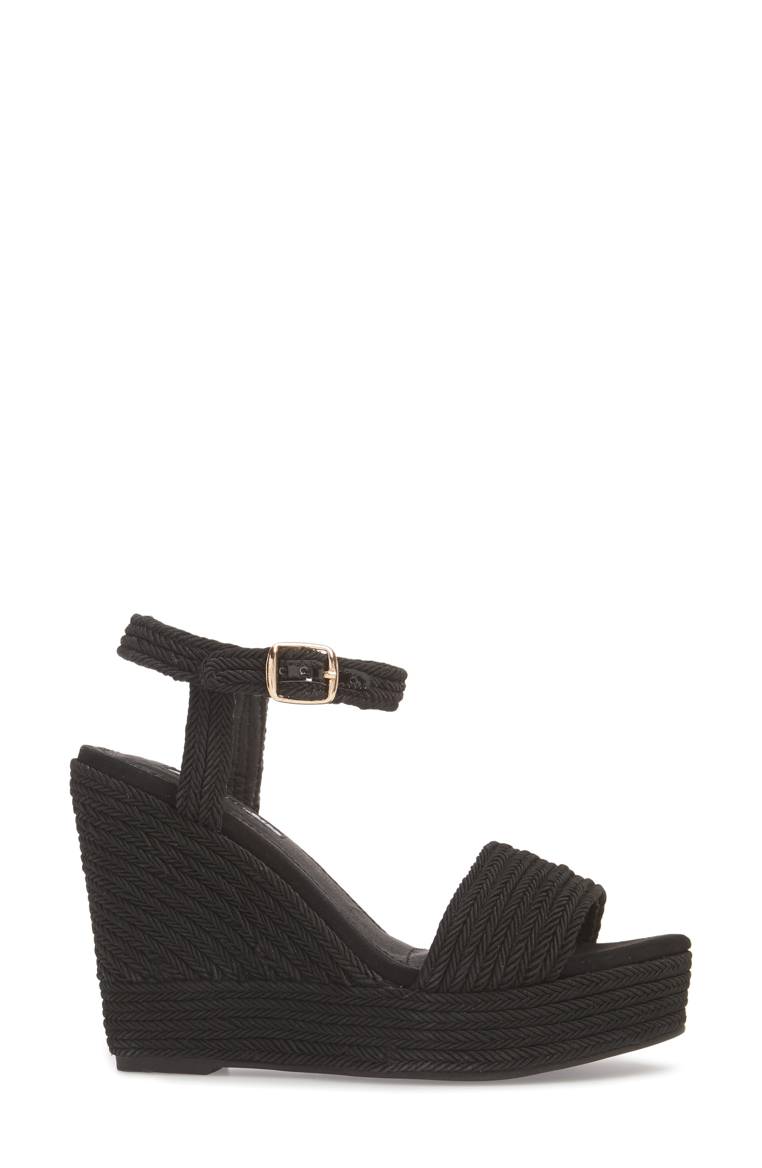 Wild Rope Platform Wedge Sandal,                             Alternate thumbnail 3, color,                             BLACK MULTI