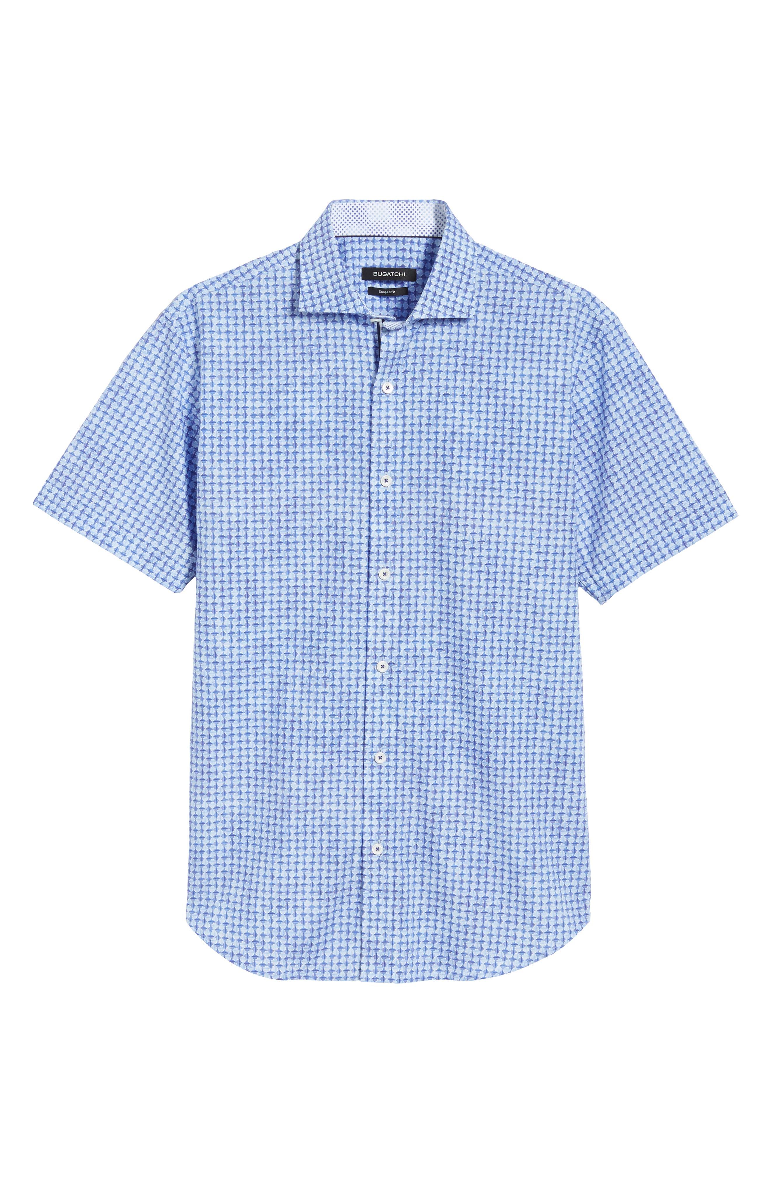 Shaped Fit Print Sport Shirt,                             Alternate thumbnail 5, color,                             422