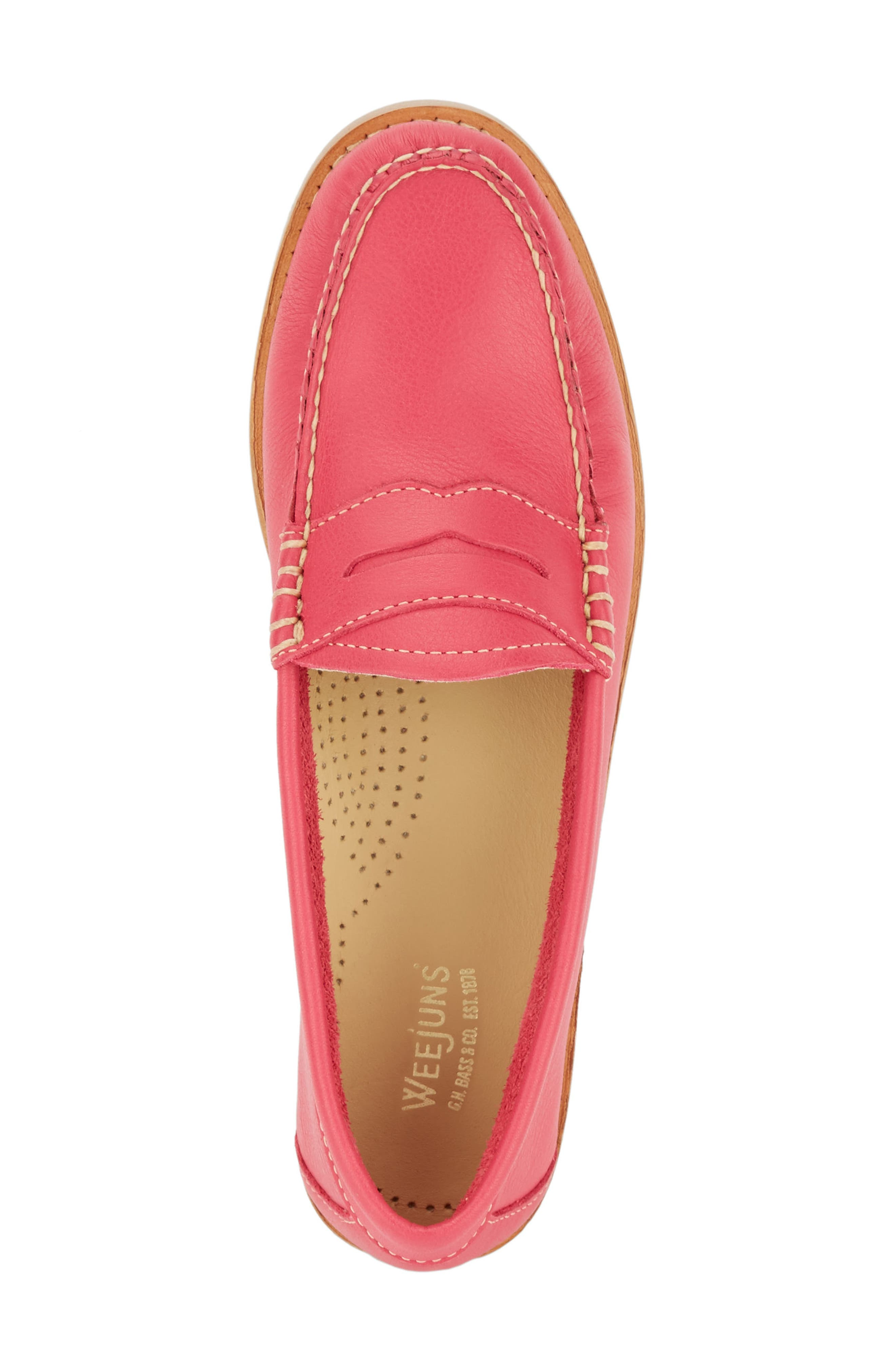'Whitney' Loafer,                             Alternate thumbnail 5, color,                             BERRY PINK LEATHER
