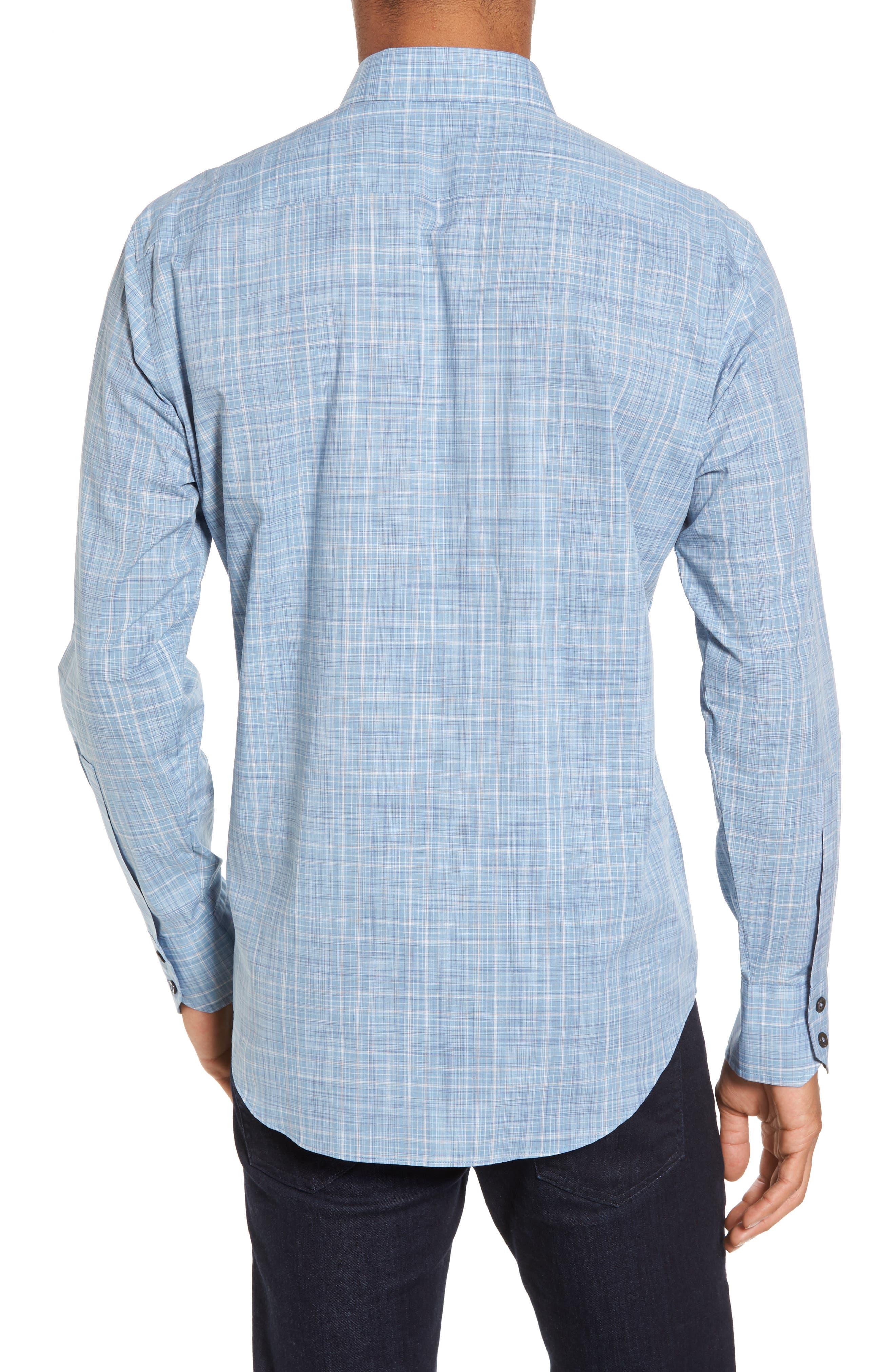 Clark Slim Fit Plaid Sport Shirt,                             Alternate thumbnail 2, color,